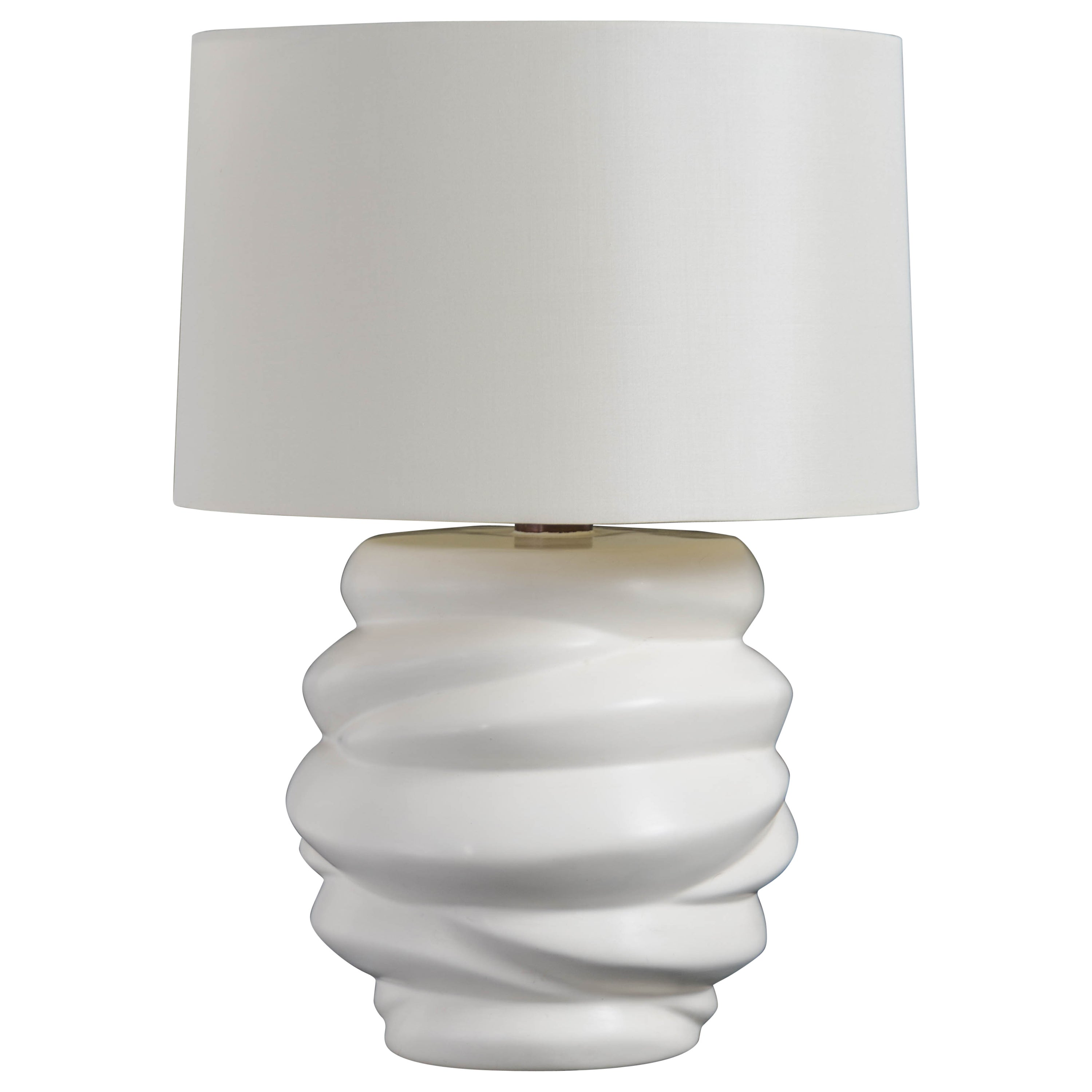 Jie Jarlet Lamp, Cream Lacquer by Robert Kuo, Handmade, Limited Edition
