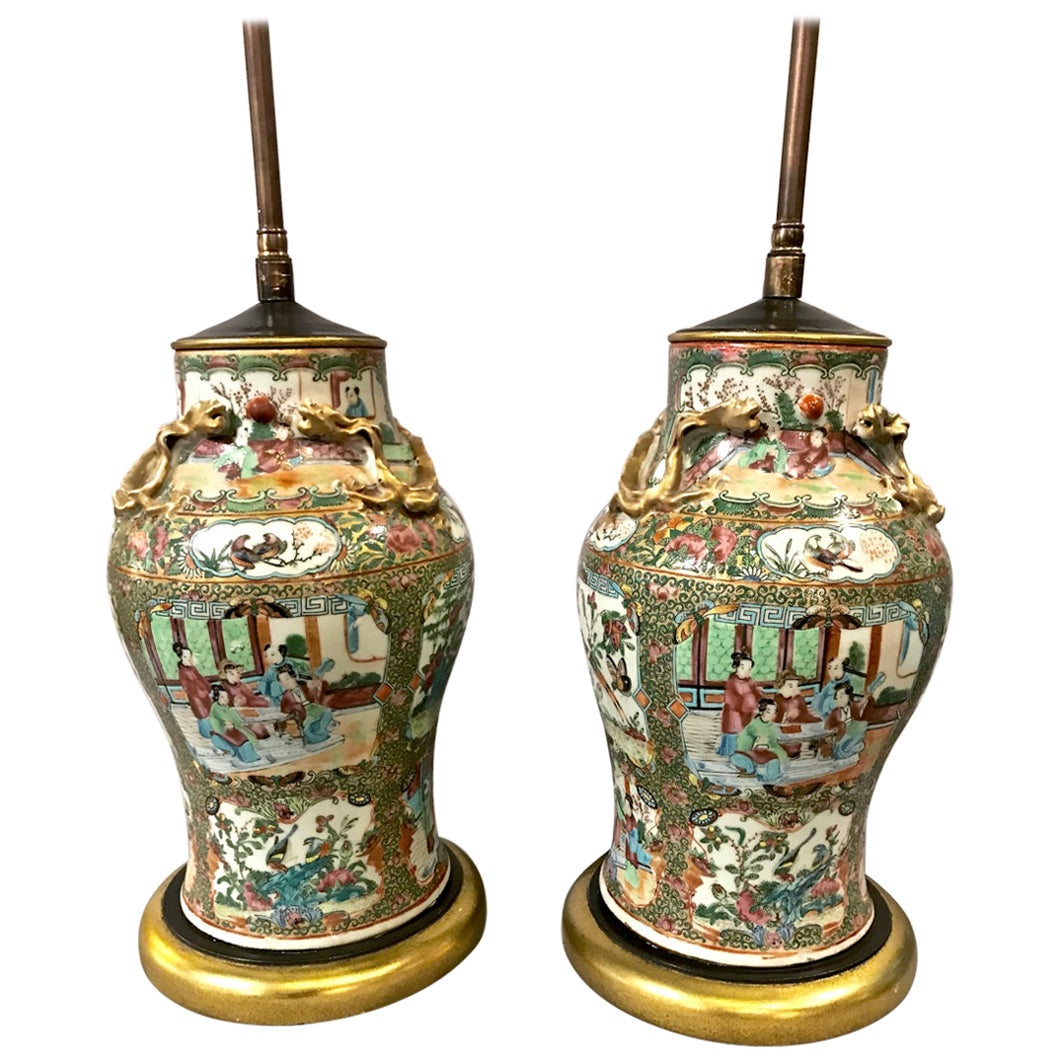 Pair of 19th Century Rose Canton Medallion Lamps