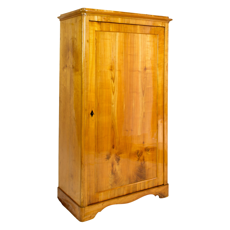 19th Century One-Door Biedermeier Cherry Cabinet / Wardrobe