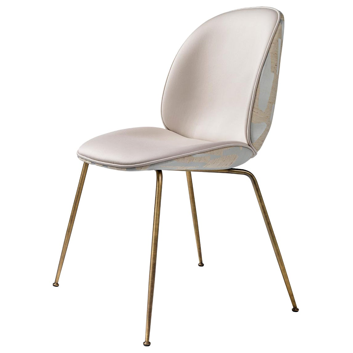 Beetle Dining Chair, Fully Upholstered, Conic Base, Antique Brass