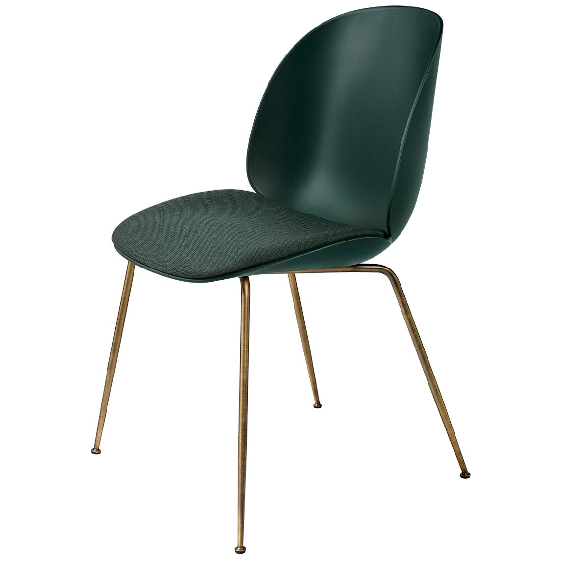 Beetle Dining Chair, Seat Upholstered, Conic Base, Antique Brass