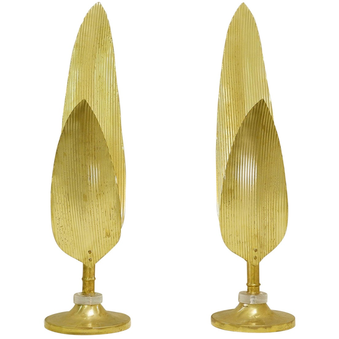 Pair of Palm Tree Gold Table Lamps