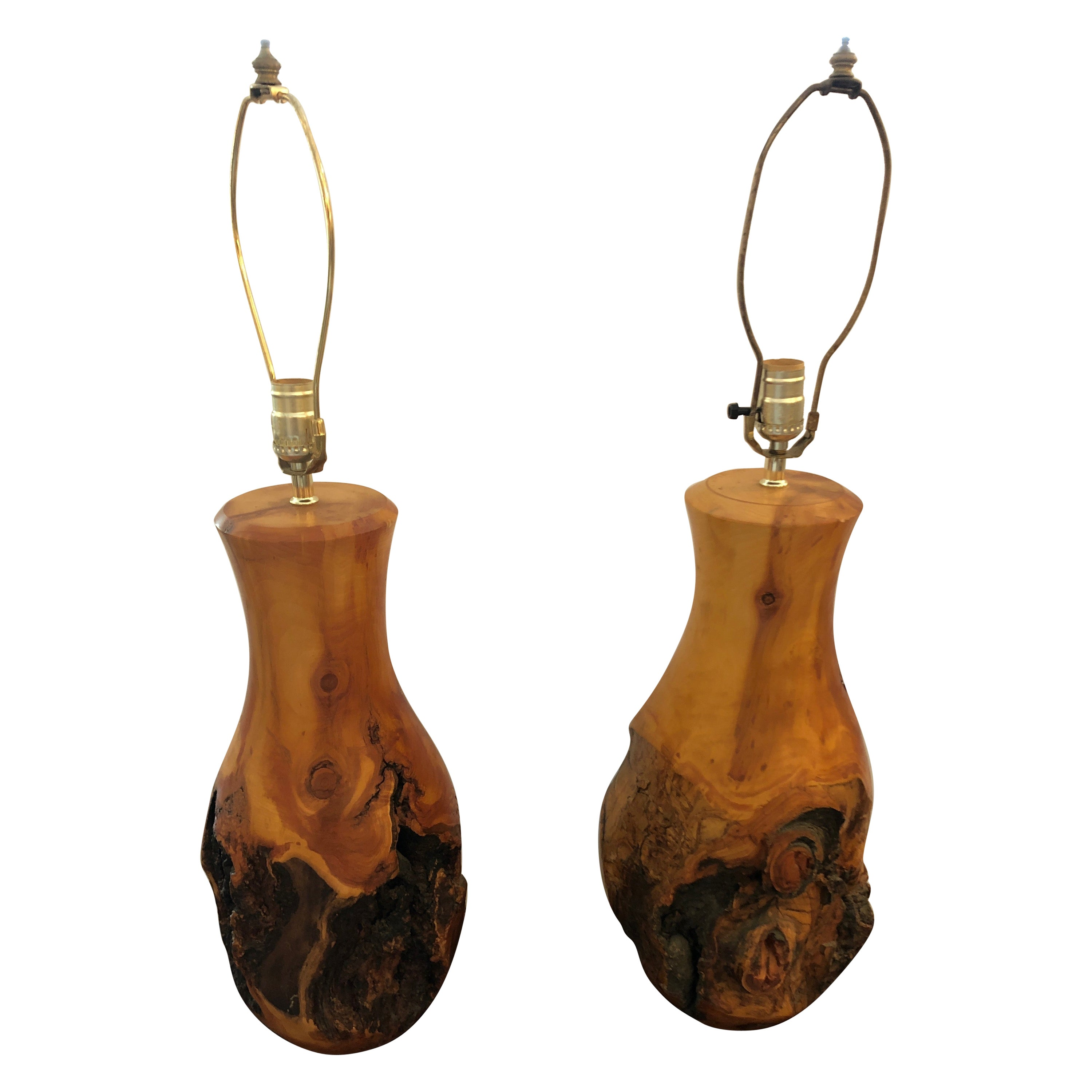 Sensational Organic Pair of Knotty Sculptural Wood Table Lamps