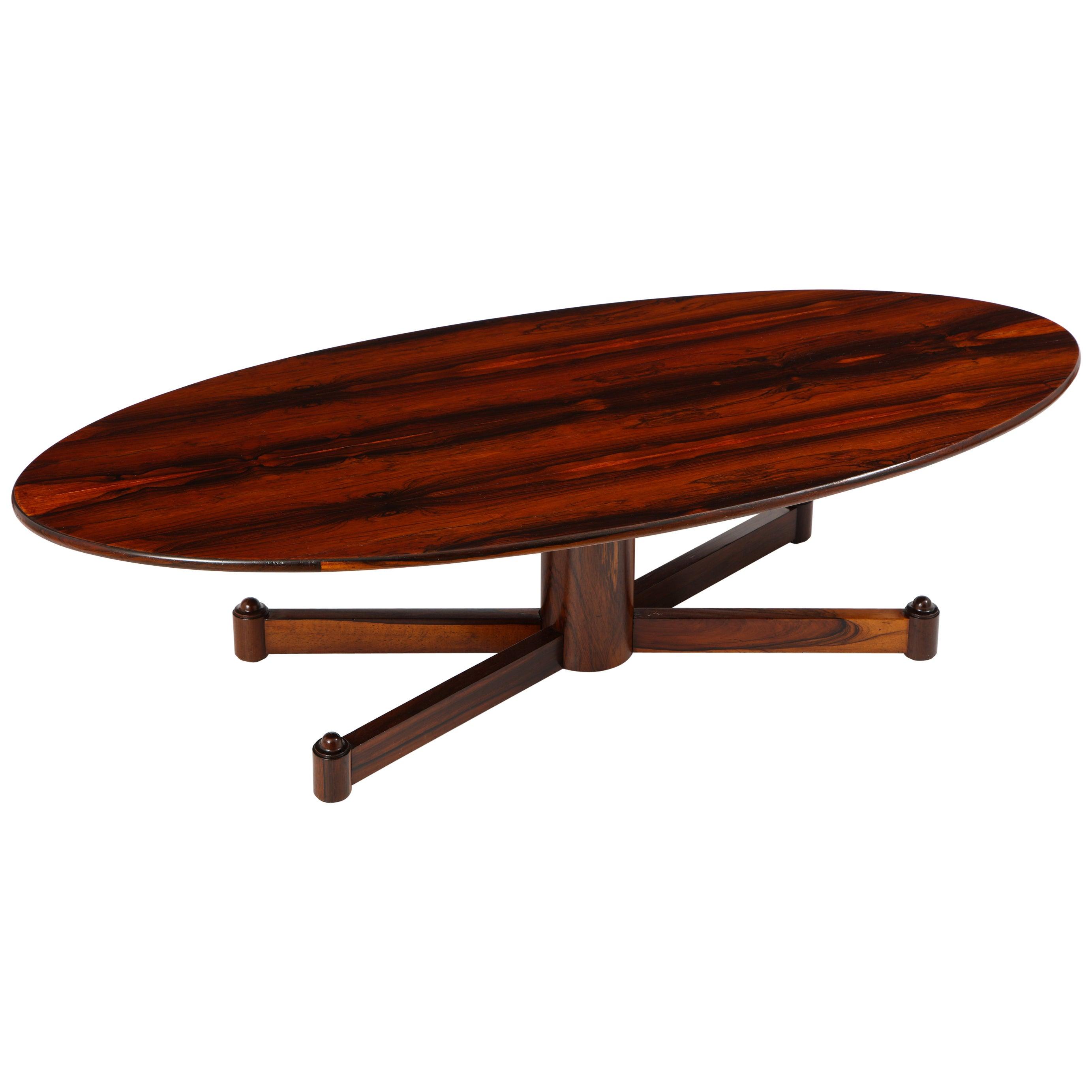 Brazilian Mid-Century Modern Wood Oval Coffee Table, Brazil 1950s