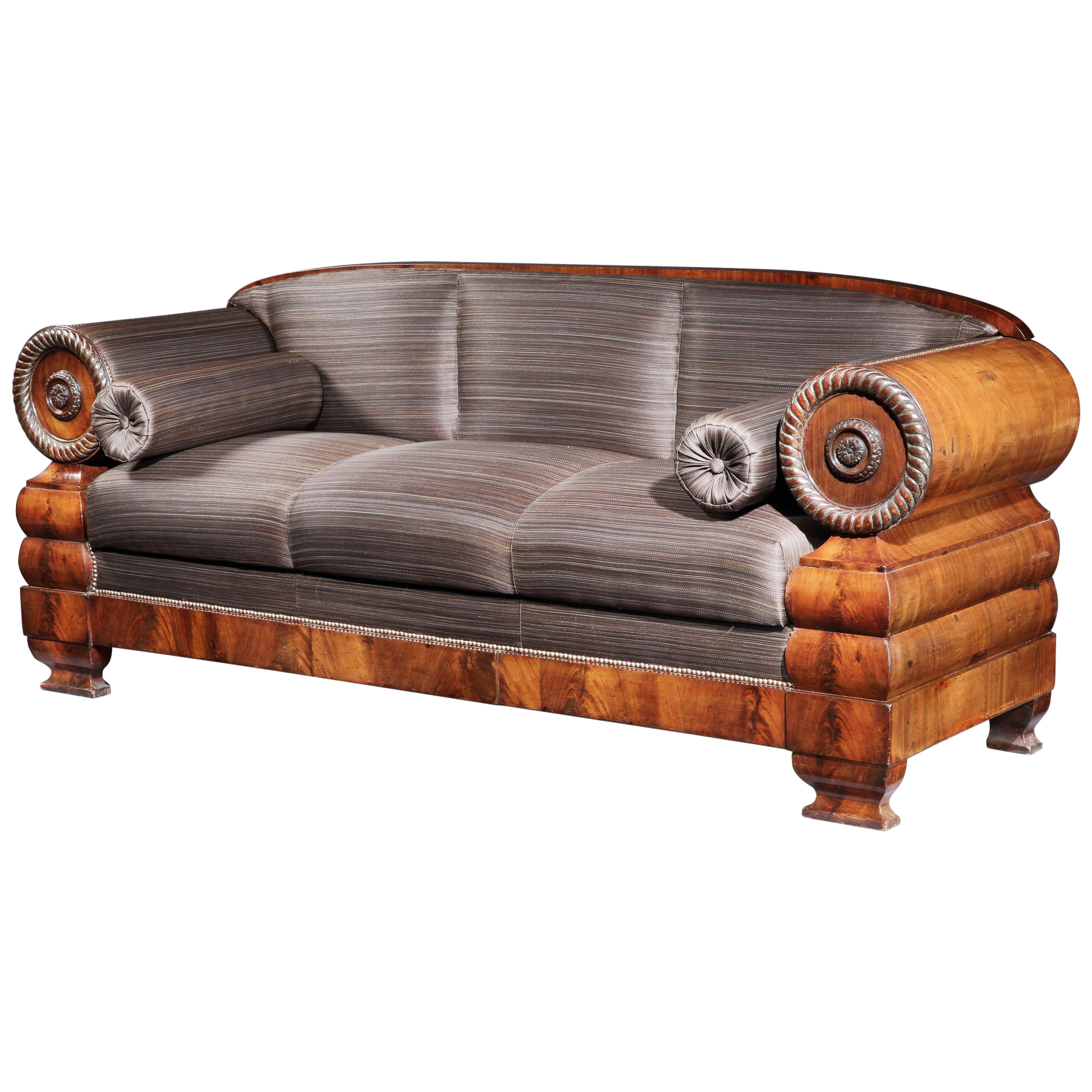 Settee 3-Seat Early 19th Century French Empire Mahogany Upholstered in Horsehair