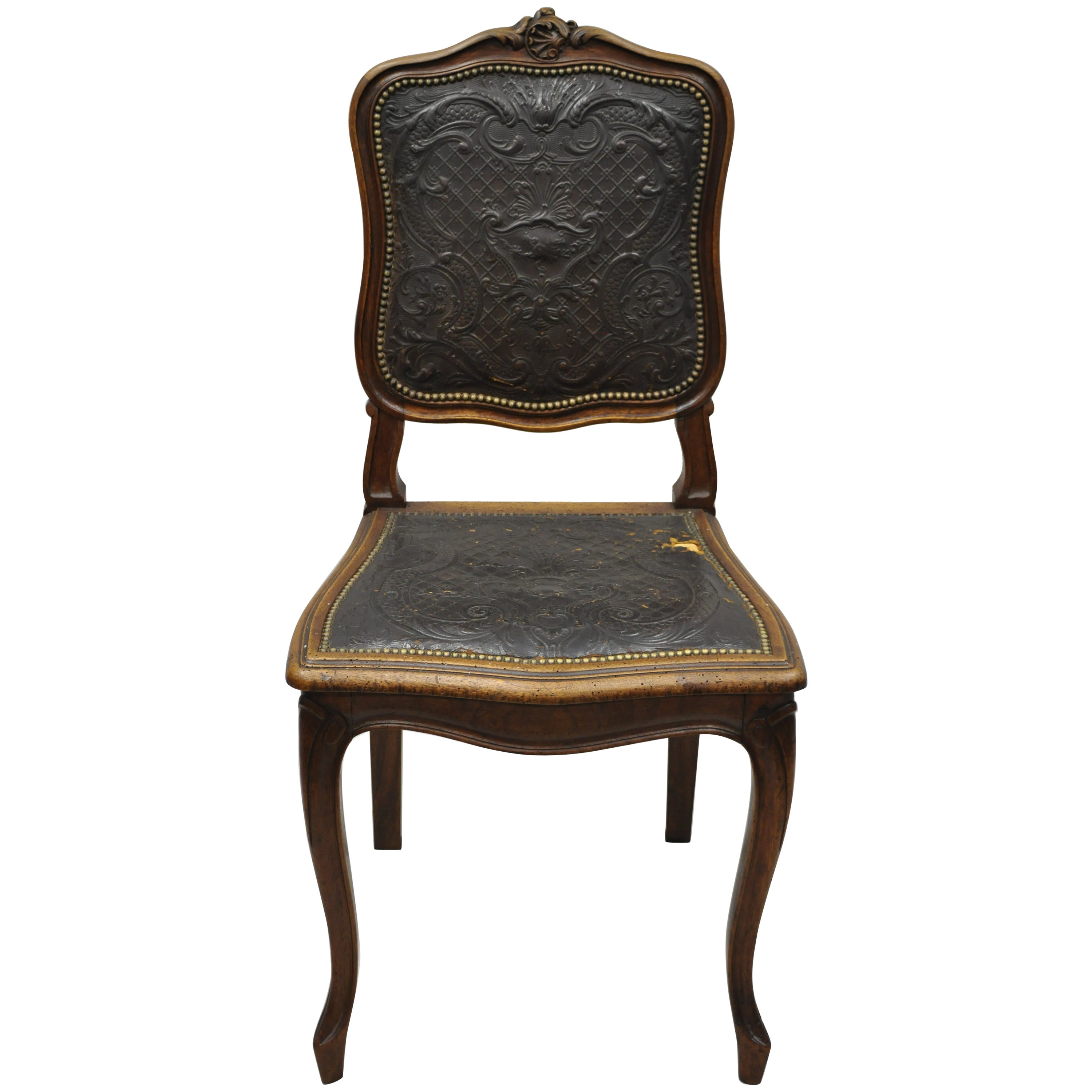 Antique French Louis XV Style Brown Embossed Leather Walnut Dining Side Chair A