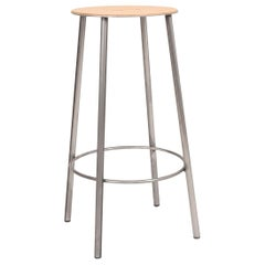 Contemporary Adam Stool R031 Natural Leather / Raw Steel H65