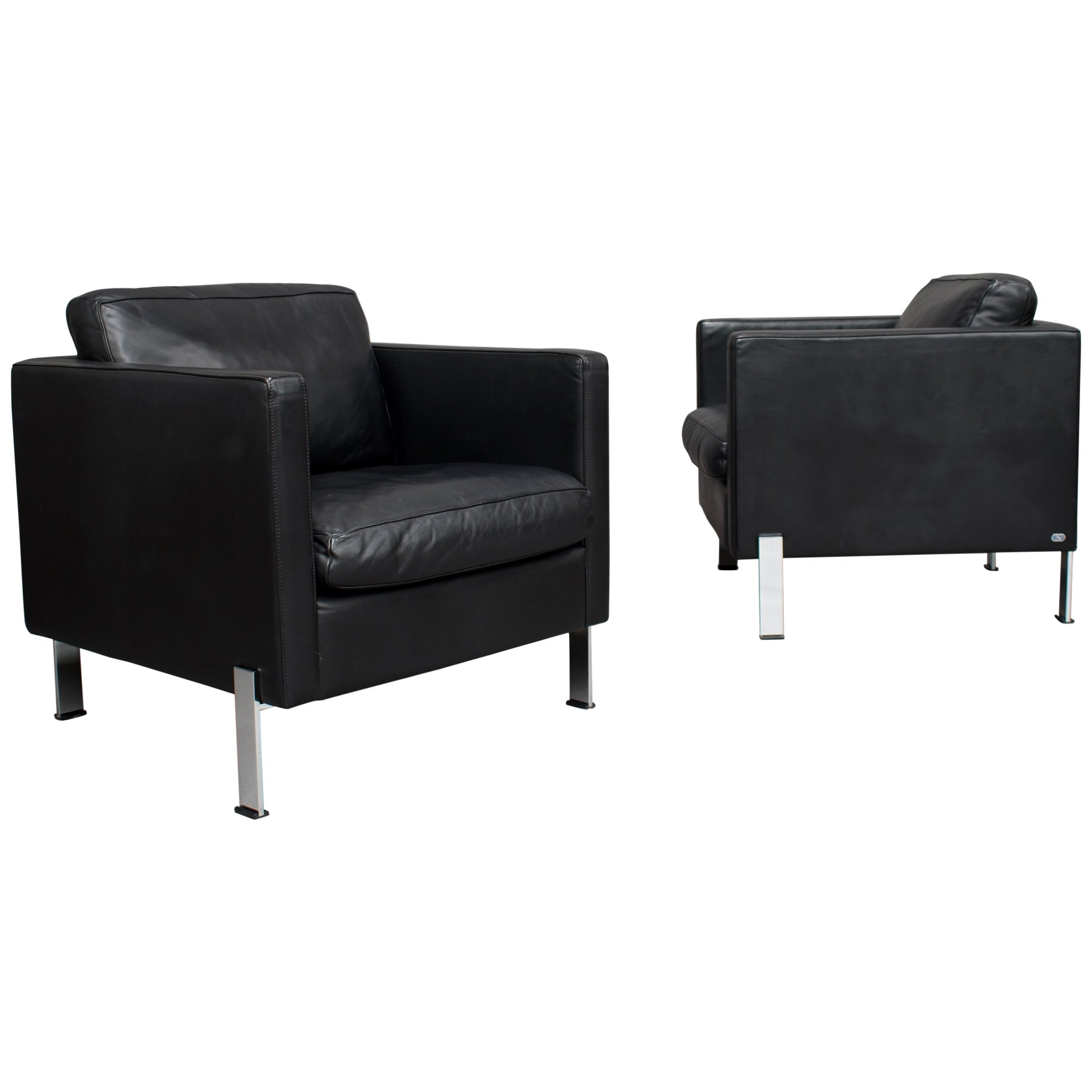 De Sede DS-118 Black Leather Lounge Armchairs, Switzerland