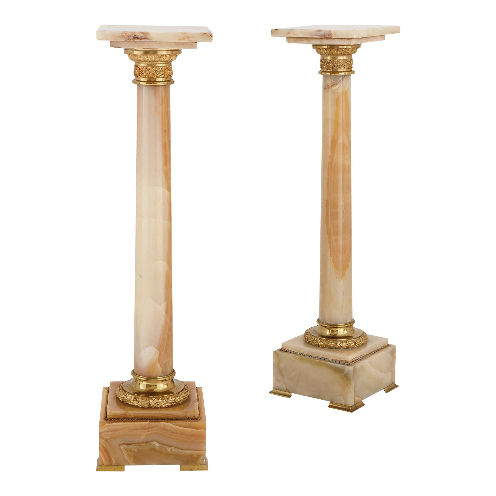 Two French White Onyx and Gilt Bronze Column-Shaped Stands