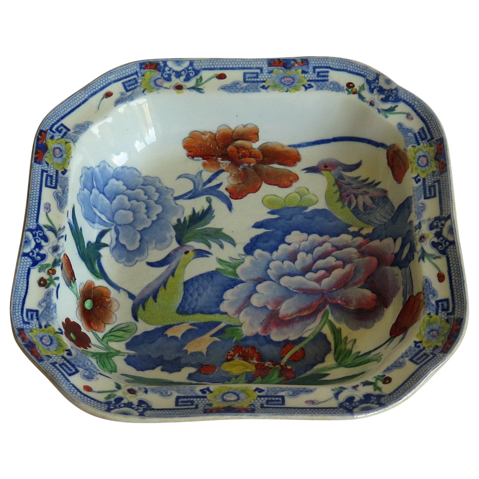 Georgian Mason's Ironstone Large Dish or Bowl India Pheasants Pattern, Ca 1818