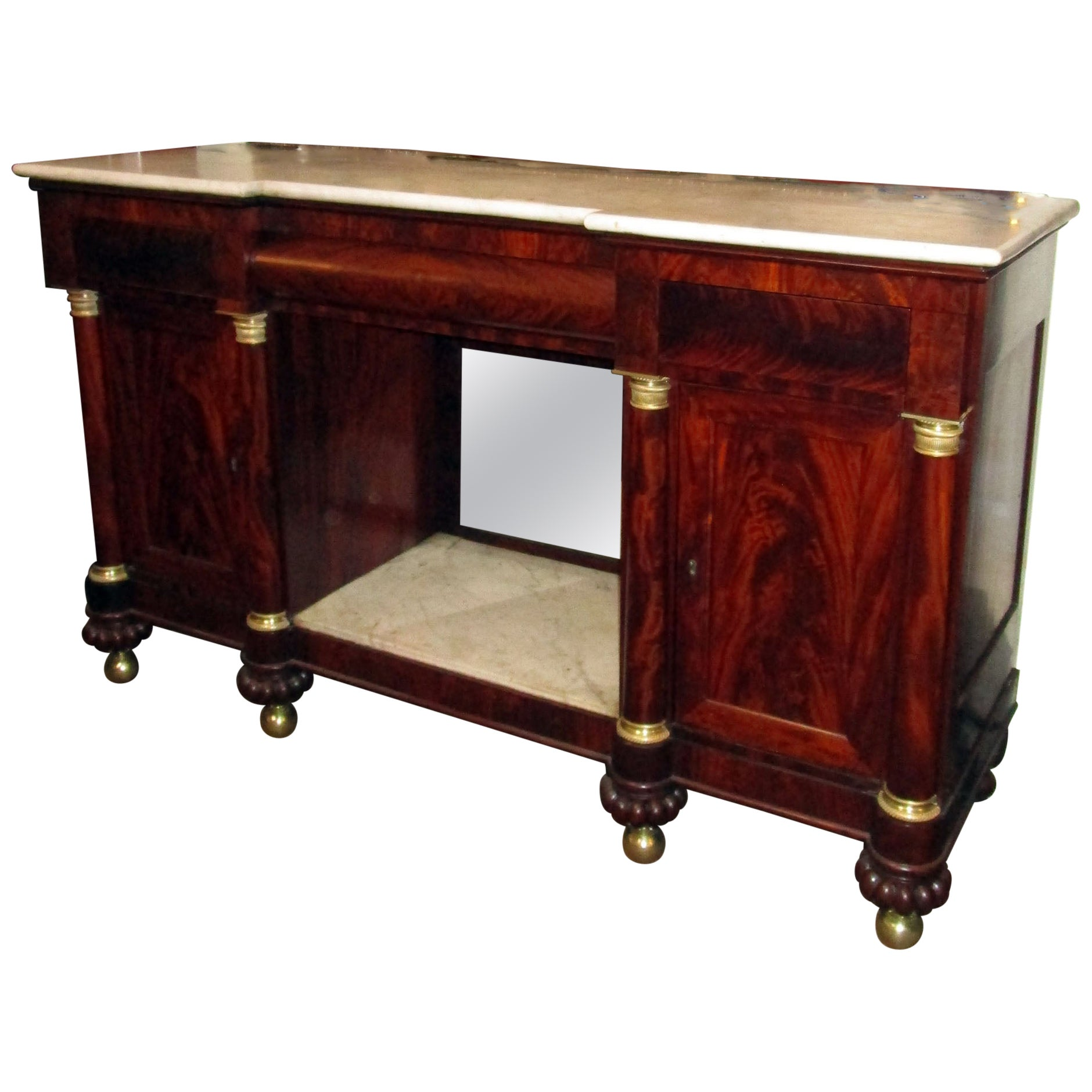 19th Century American Empire Flame Mahogany Sideboard Marble Top and Insert