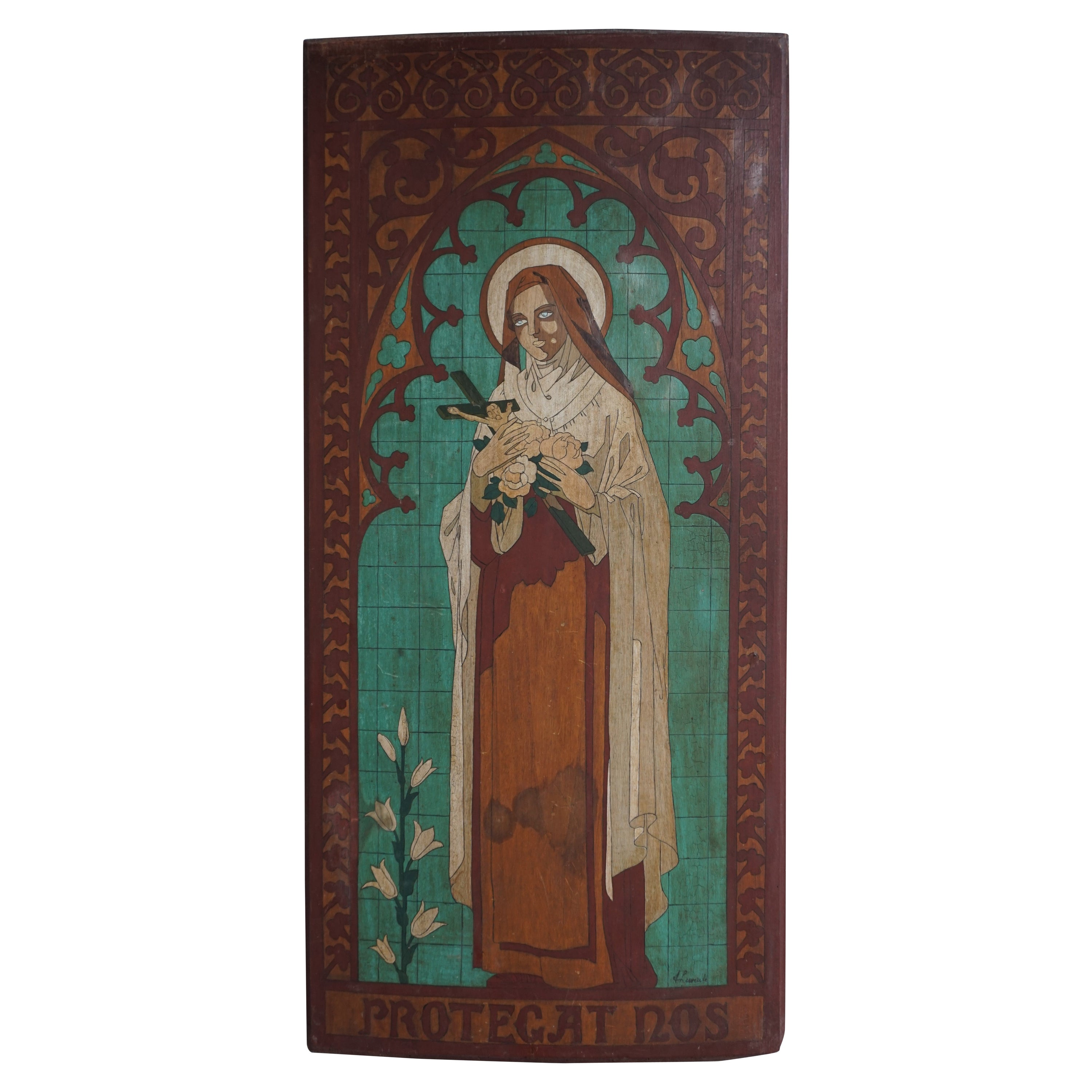 Antique Hand Painted Gothic Revival Wall Panel of Saint Theresia of Lisieux