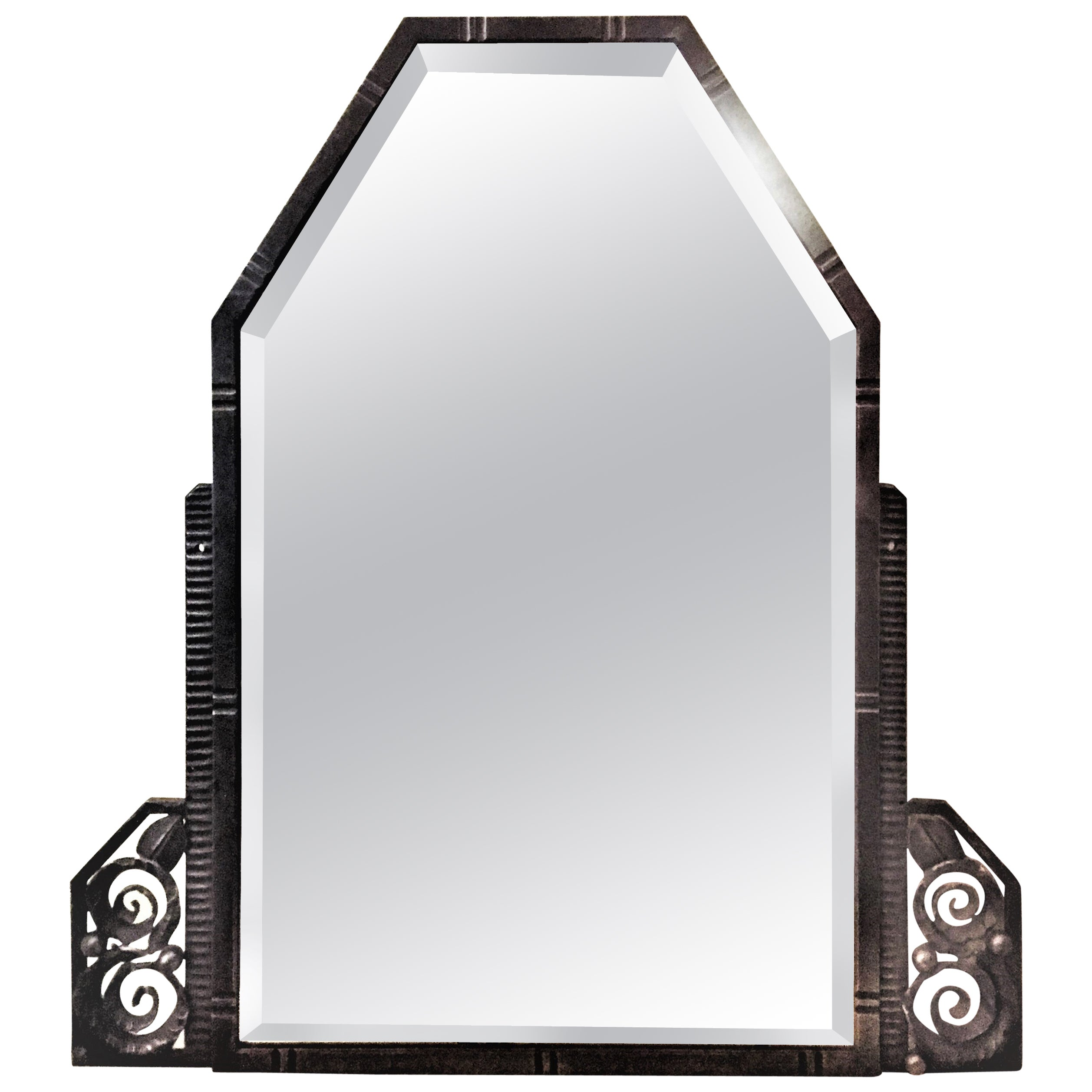 Art Deco Wrought Iron Wall Mirror, signed A. Valentin, circa 1920s