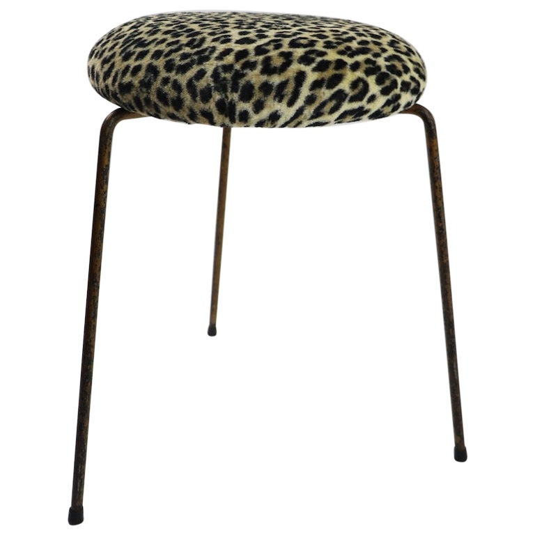 Stool with Wrought Iron Legs and Leopard Upholstered Top