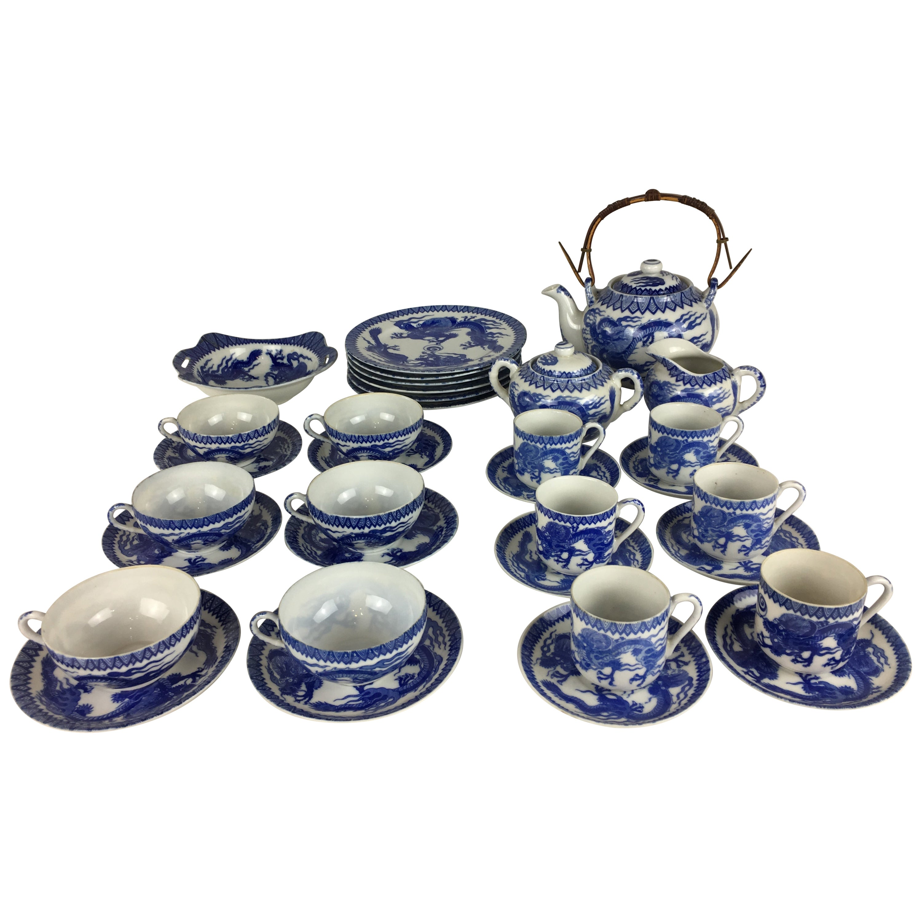 19th Century Japanese Blue and White Arita Porcelain Tea Service, 34 Pieces