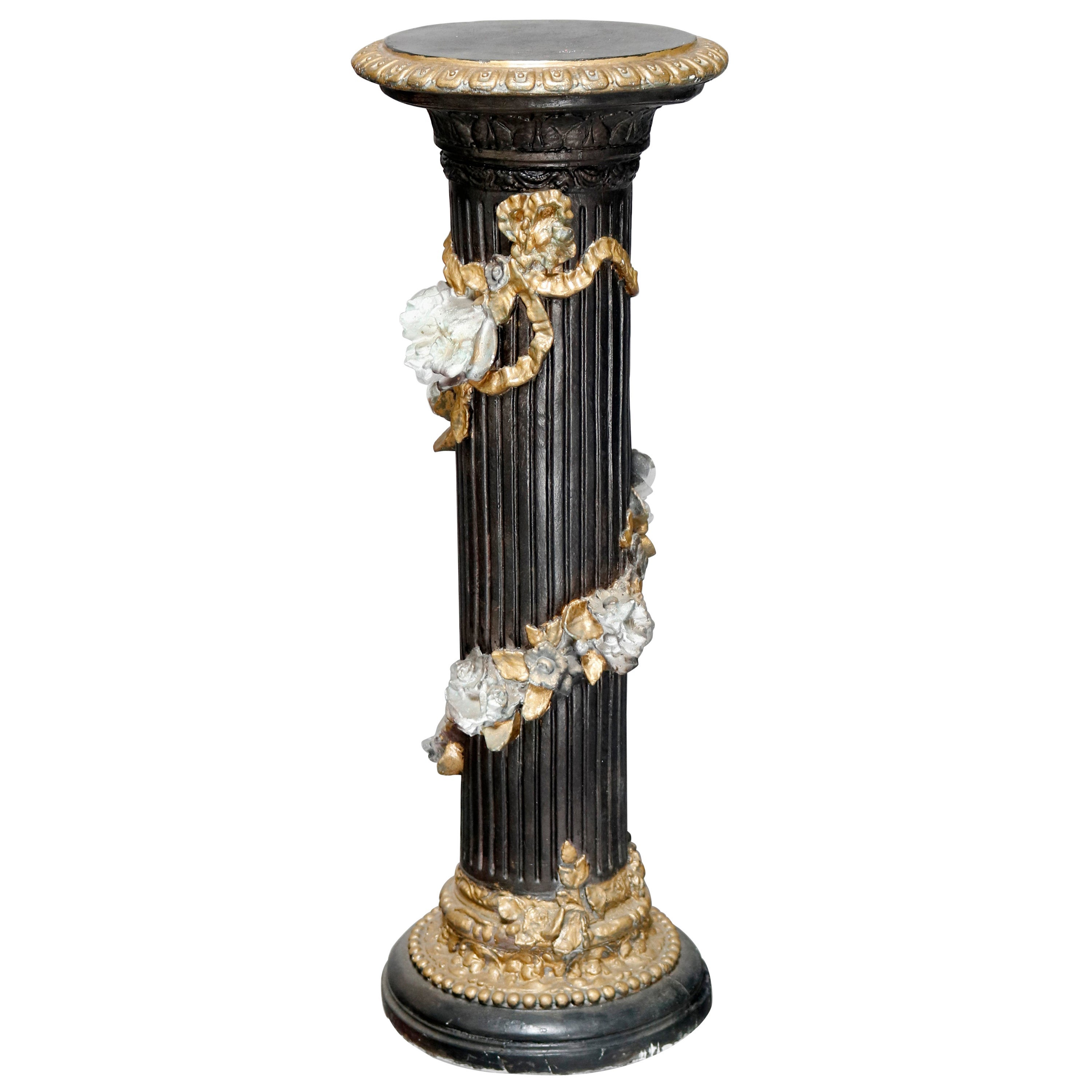 Vintage Neoclassical Style Paint Decorated Plaster Display Pedestal