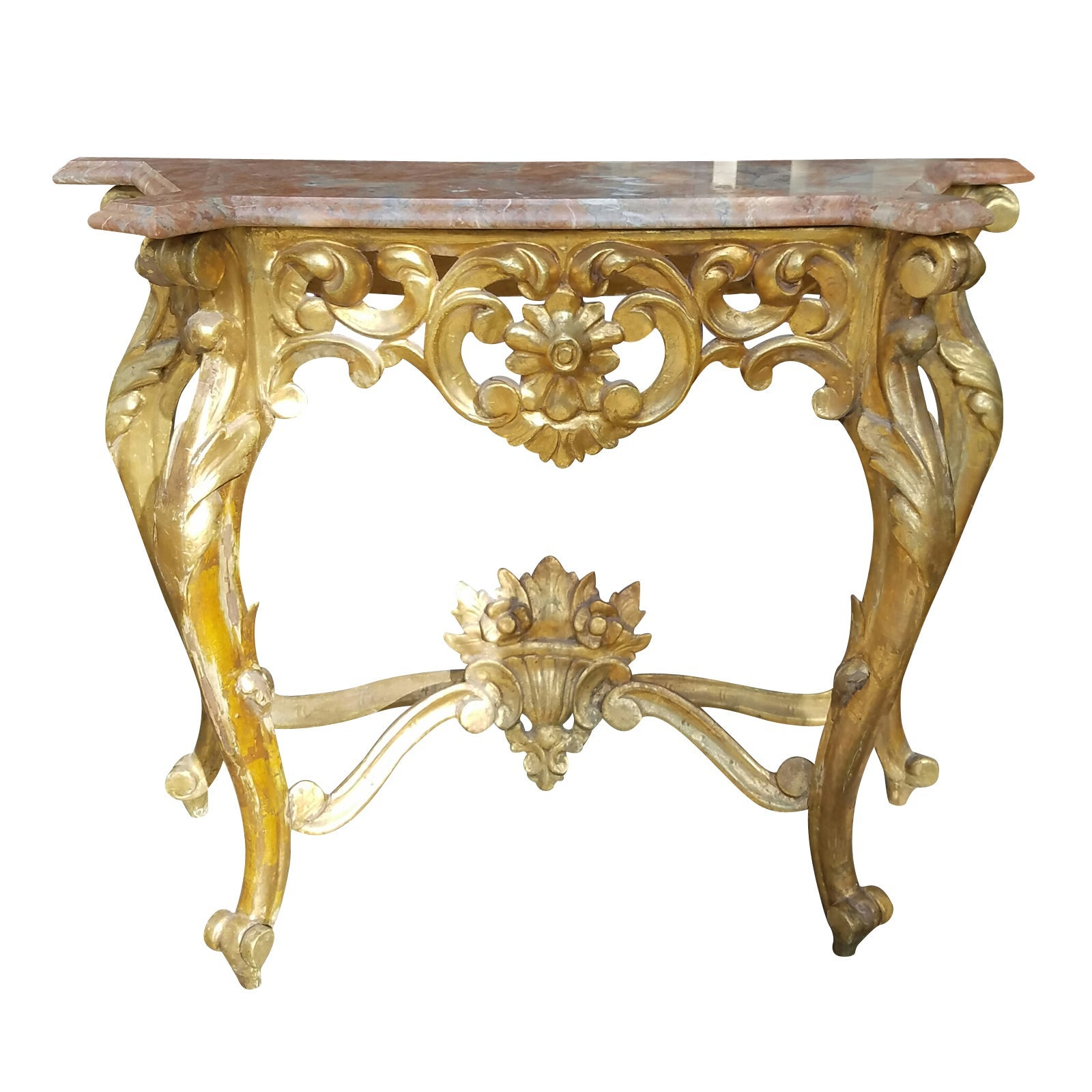19th-20th Century French Carved Giltwood Console with Marble Top