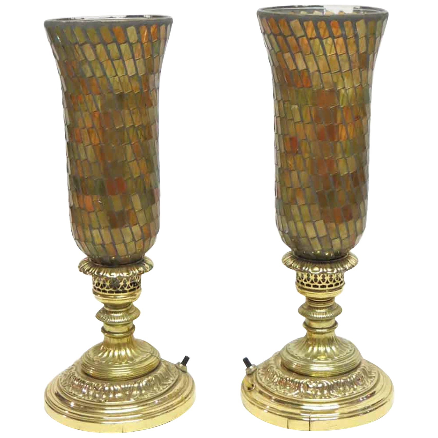 1930s Pair of Hurricane Lamps with Opalescent Colored Glass Shades