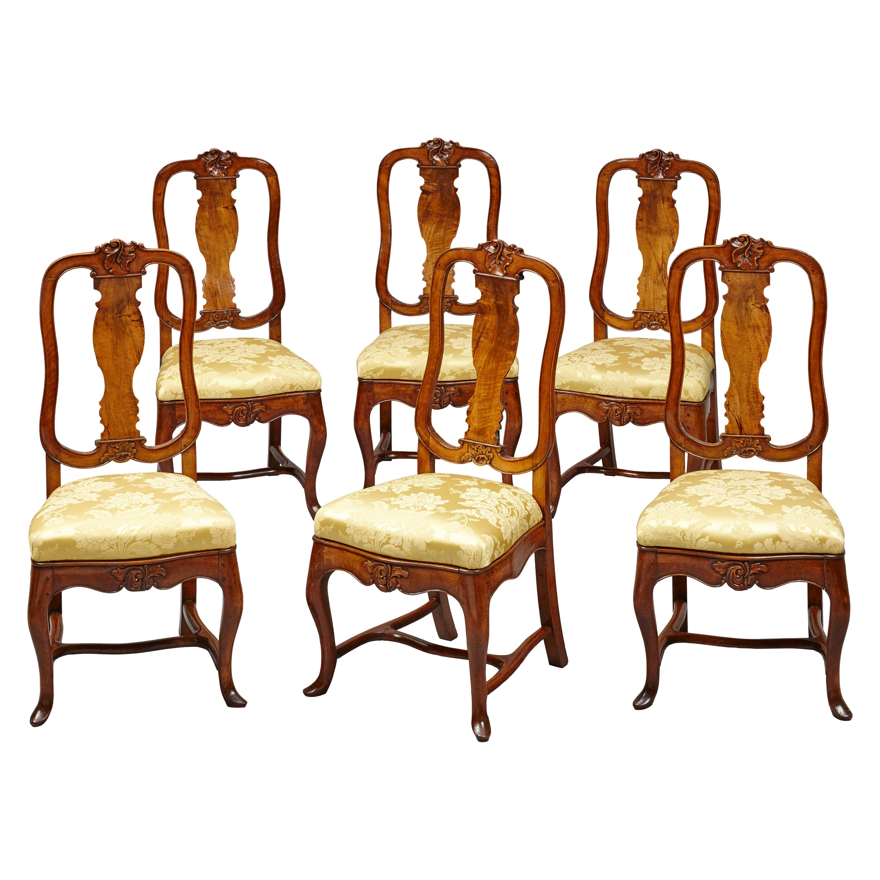 Set of Six 18th Century German Baroque Walnut Dining Chairs