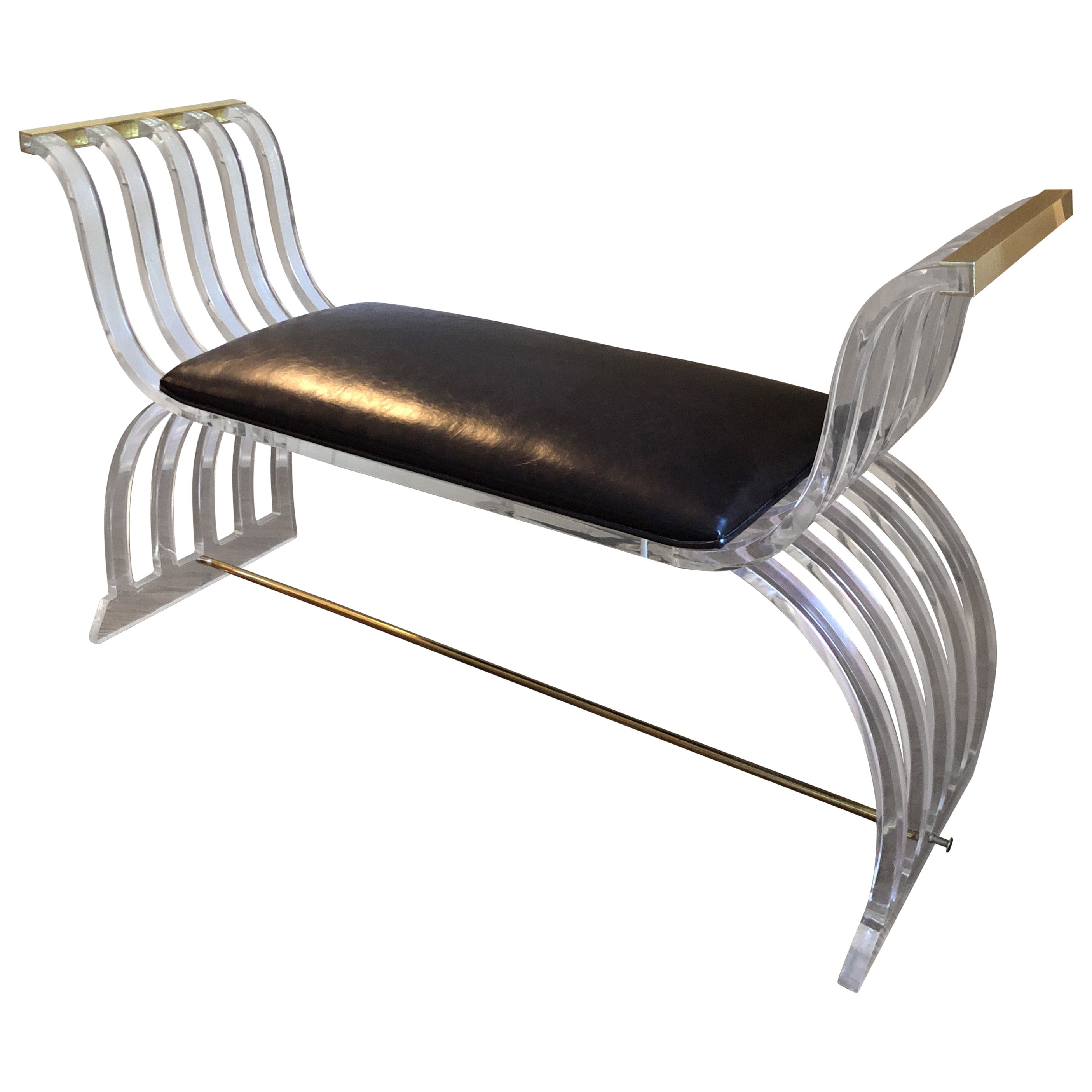 Vintage Mid-Century Modern Lucite and Leather Bench