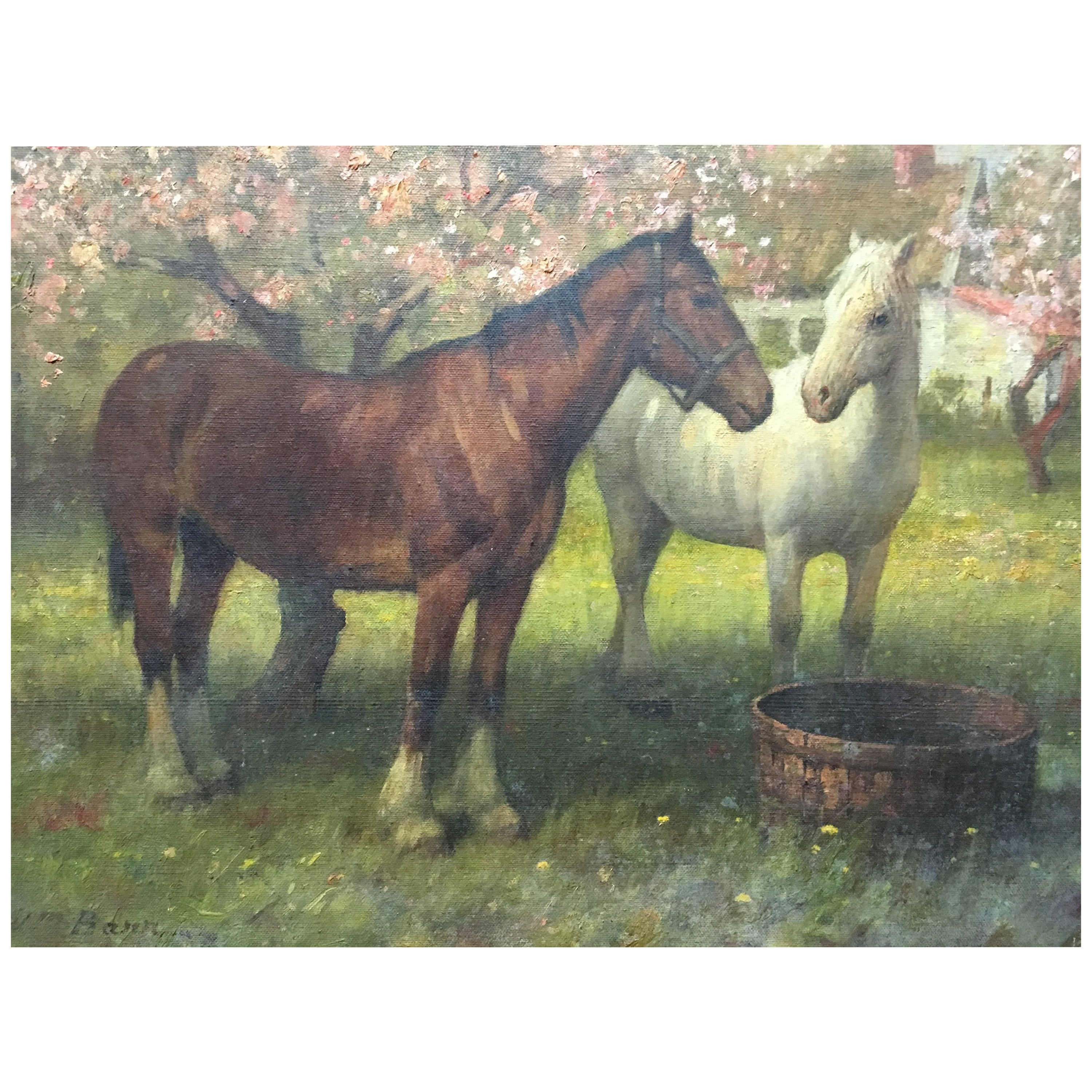 Painting of Two Horses in a Field, Oil on Canvas