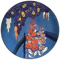 English Colourful Bursley Ware Art Deco Charger