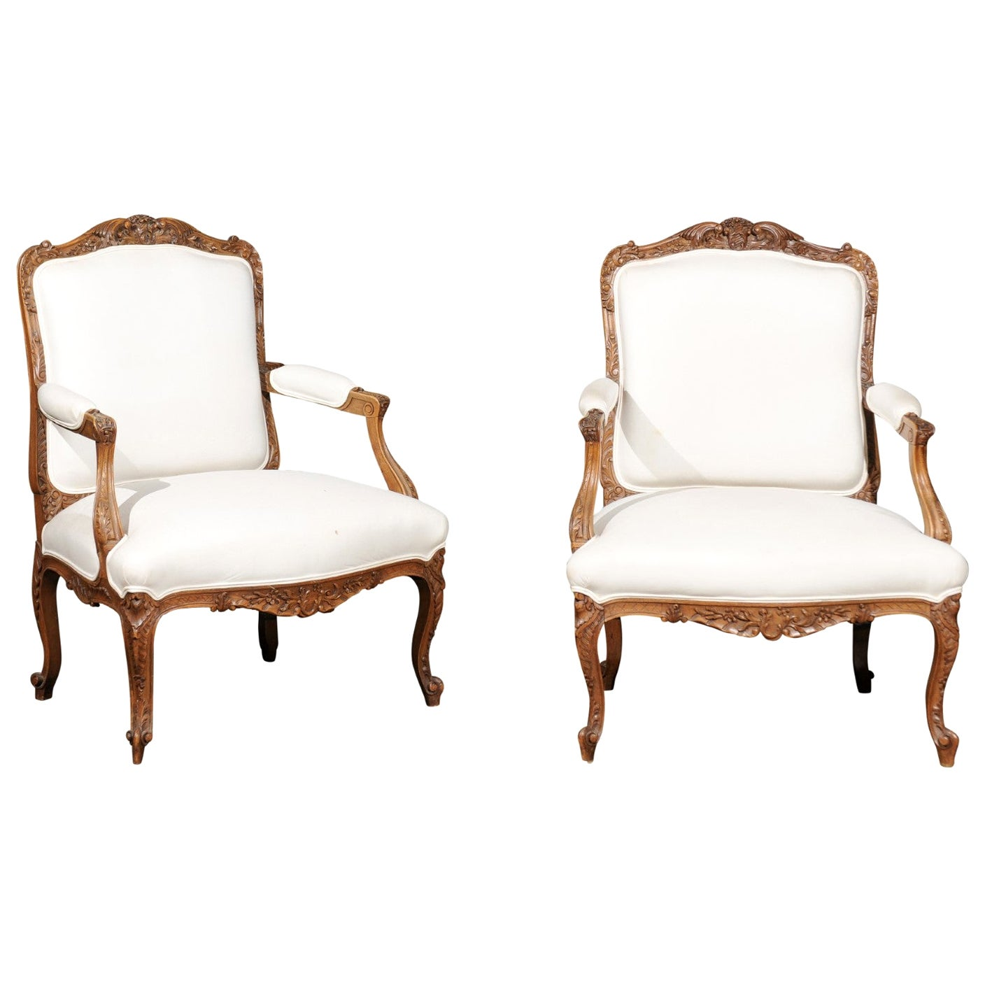 Pair of Italian 19th Century Rococo Style Carved Walnut Upholstered Armchairs