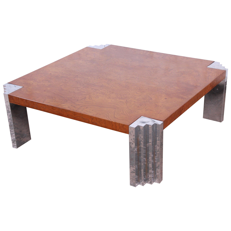 Milo Baughman Style Mid-Century Modern Burl Wood and Chrome Cocktail Table