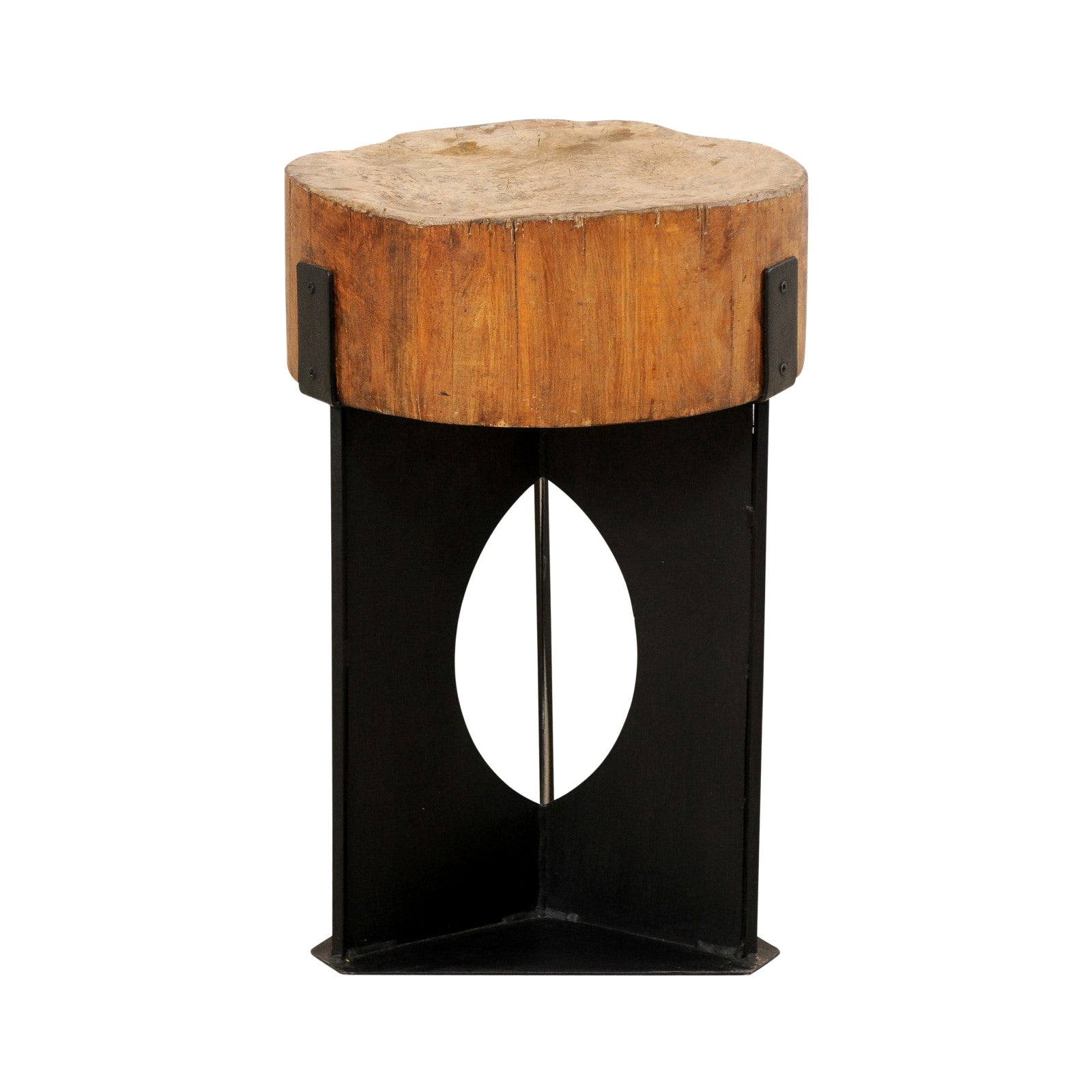 Modern Side Table with European Chopping Block Top and Custom Iron Base