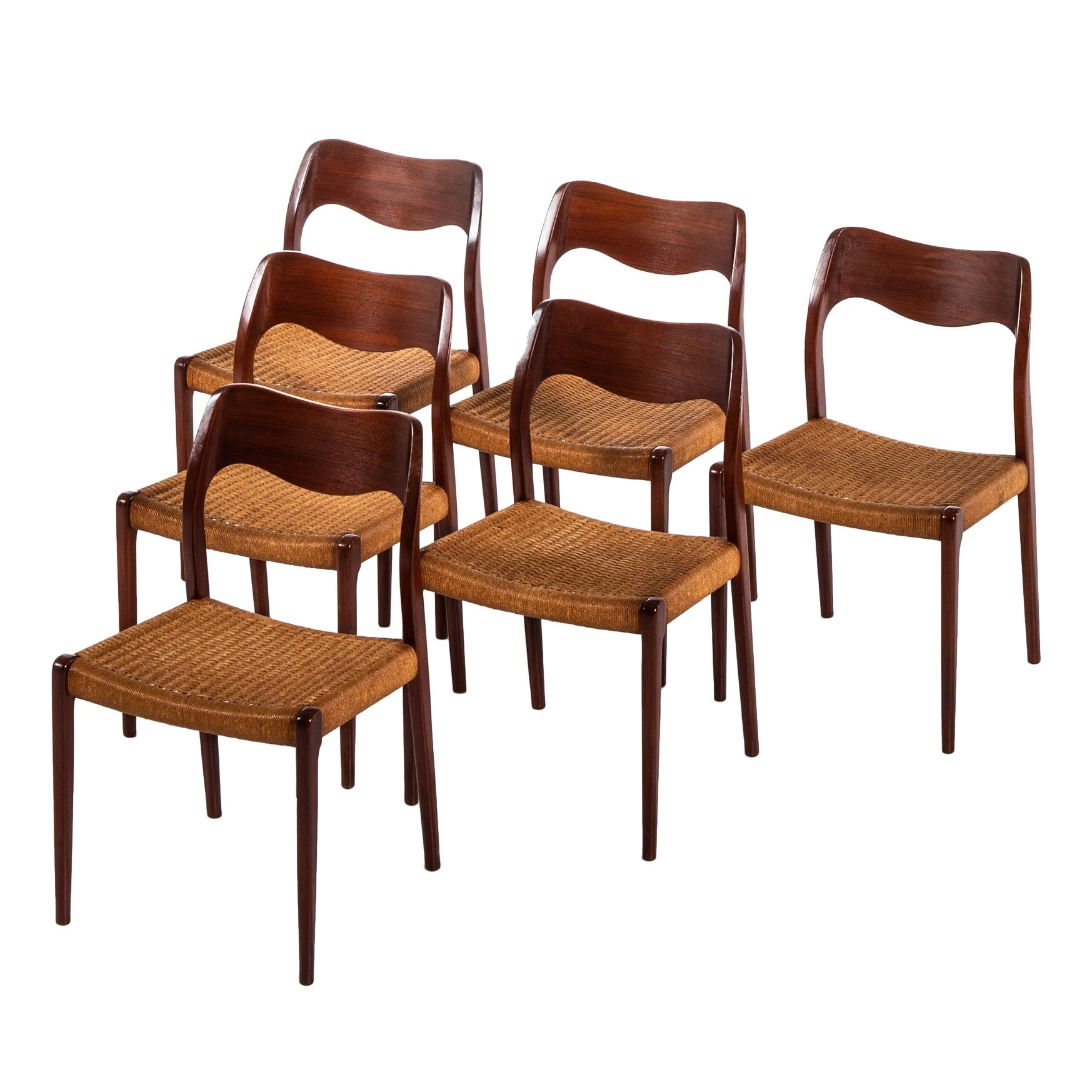 Niels O. Møller Dining Chairs Model 71 by J.L. Møllers Møbelfabrik in Denmark