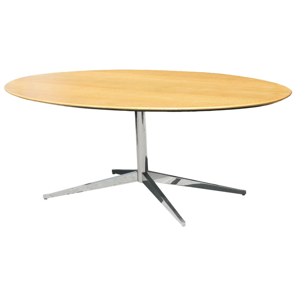 Florence Knoll Style Oak and Re-Chromed Steel Base Dining or Conference Table