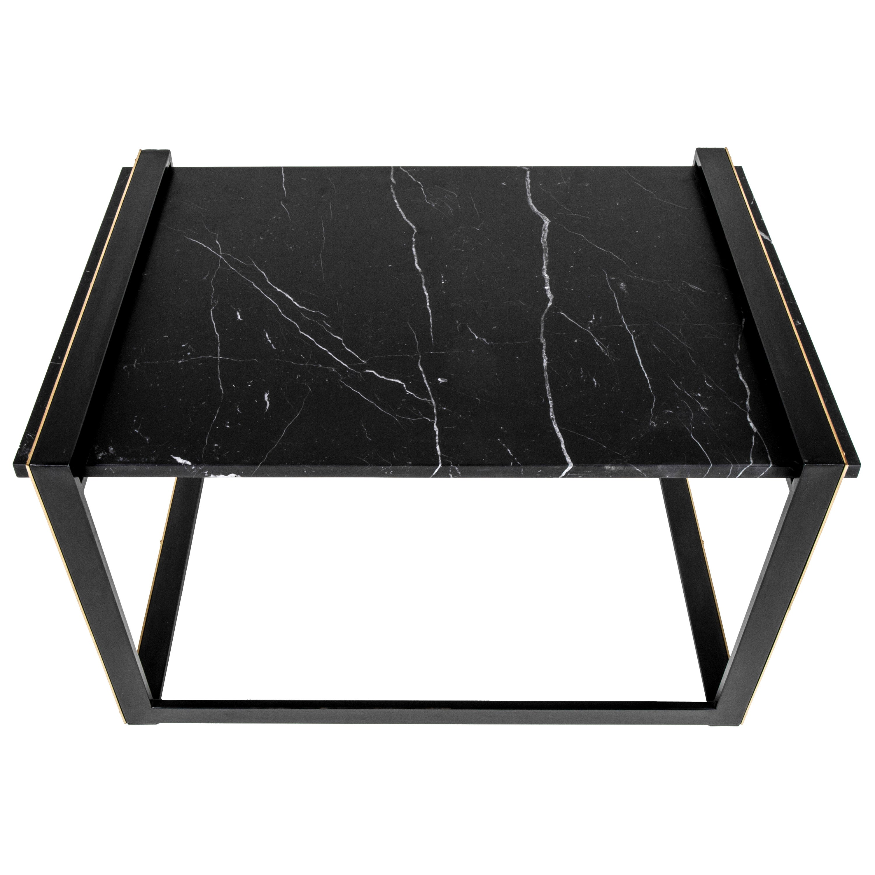 Daniel Side Table in Blackened Steel, Nero Marquina Marble and Brass Accents