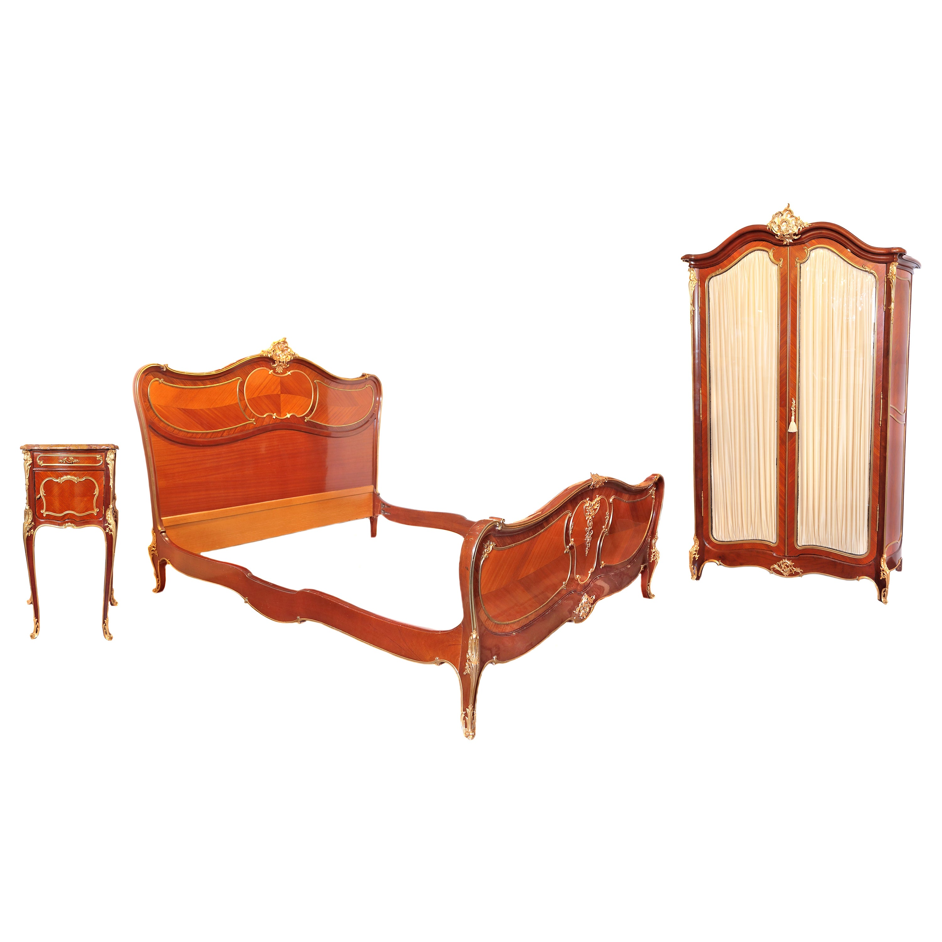 19th Century Signed Francois Linke King Bedroom Suite