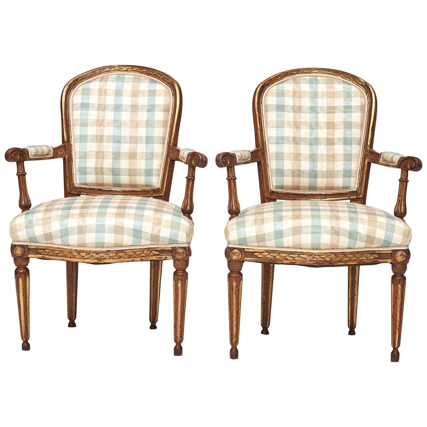Pair of Late 18th Century Danish Louis XVI Giltwood Open Armchairs