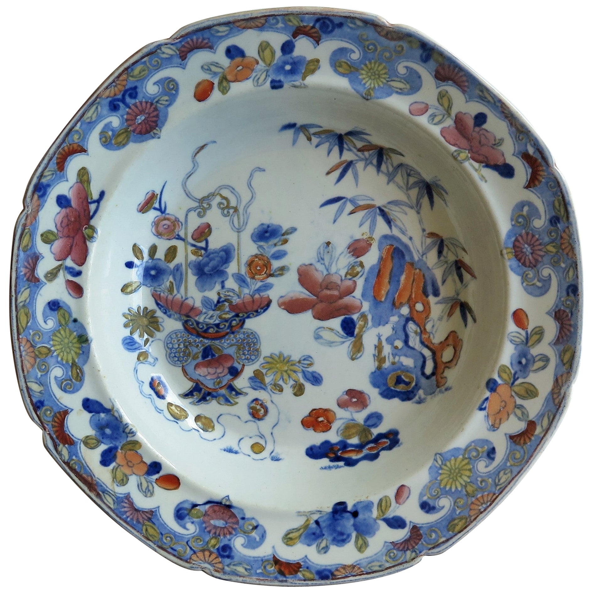 Very Early Mason's Ironstone Soup Bowl or Plate Bamboo and Basket Pattern C 1812
