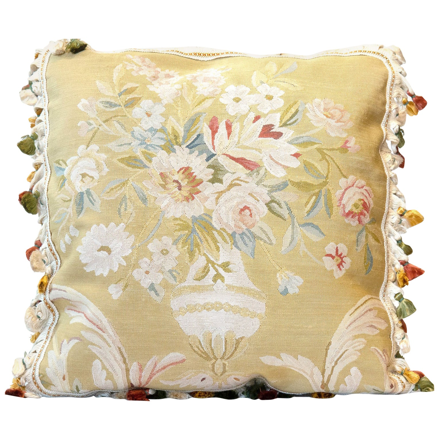 Decorative Pillows, Floral Vintage Pure Silk Aubusson Style Pillow Cushion Cover