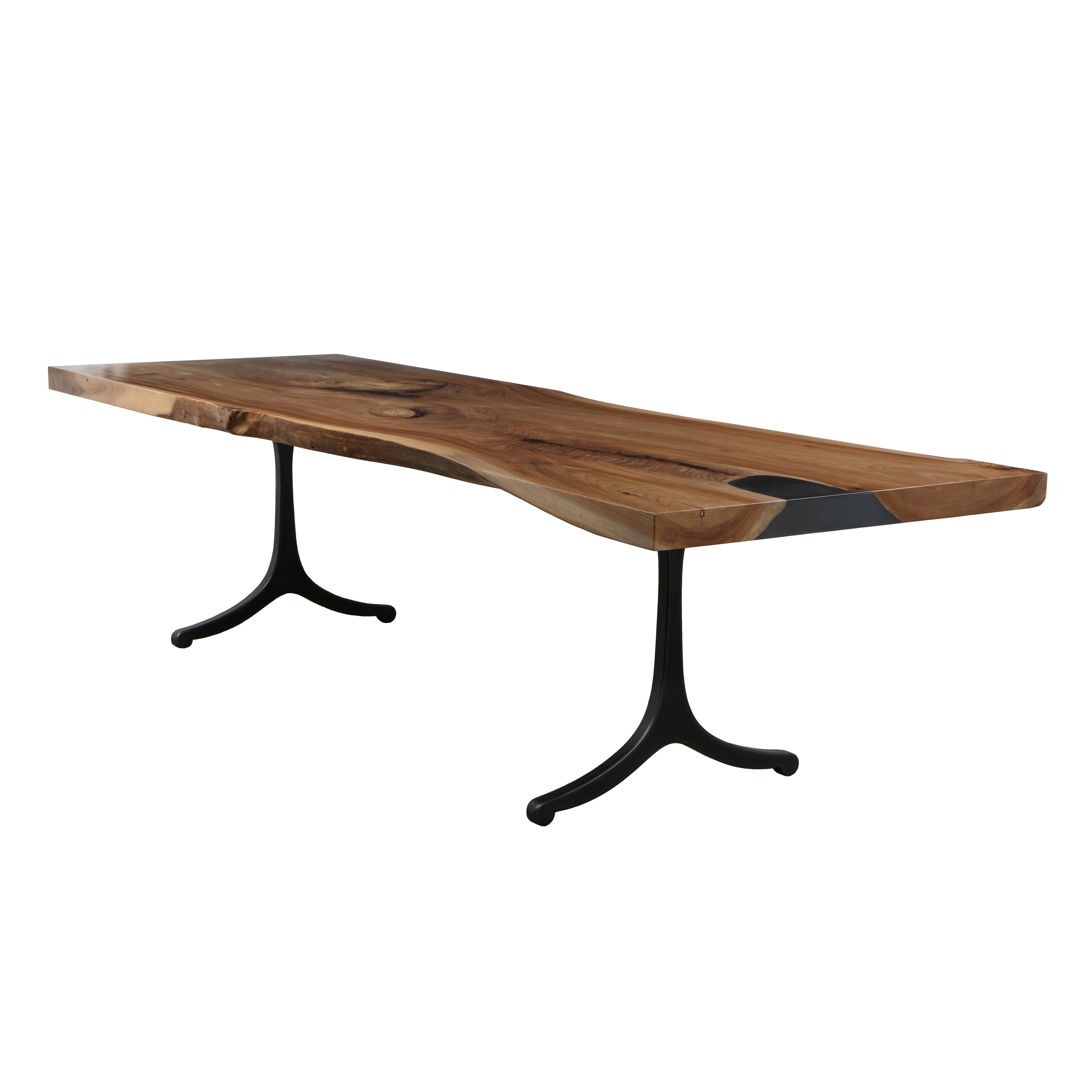 Modern Industry Live Edge Dining Table in Elm with Wishbone Legs