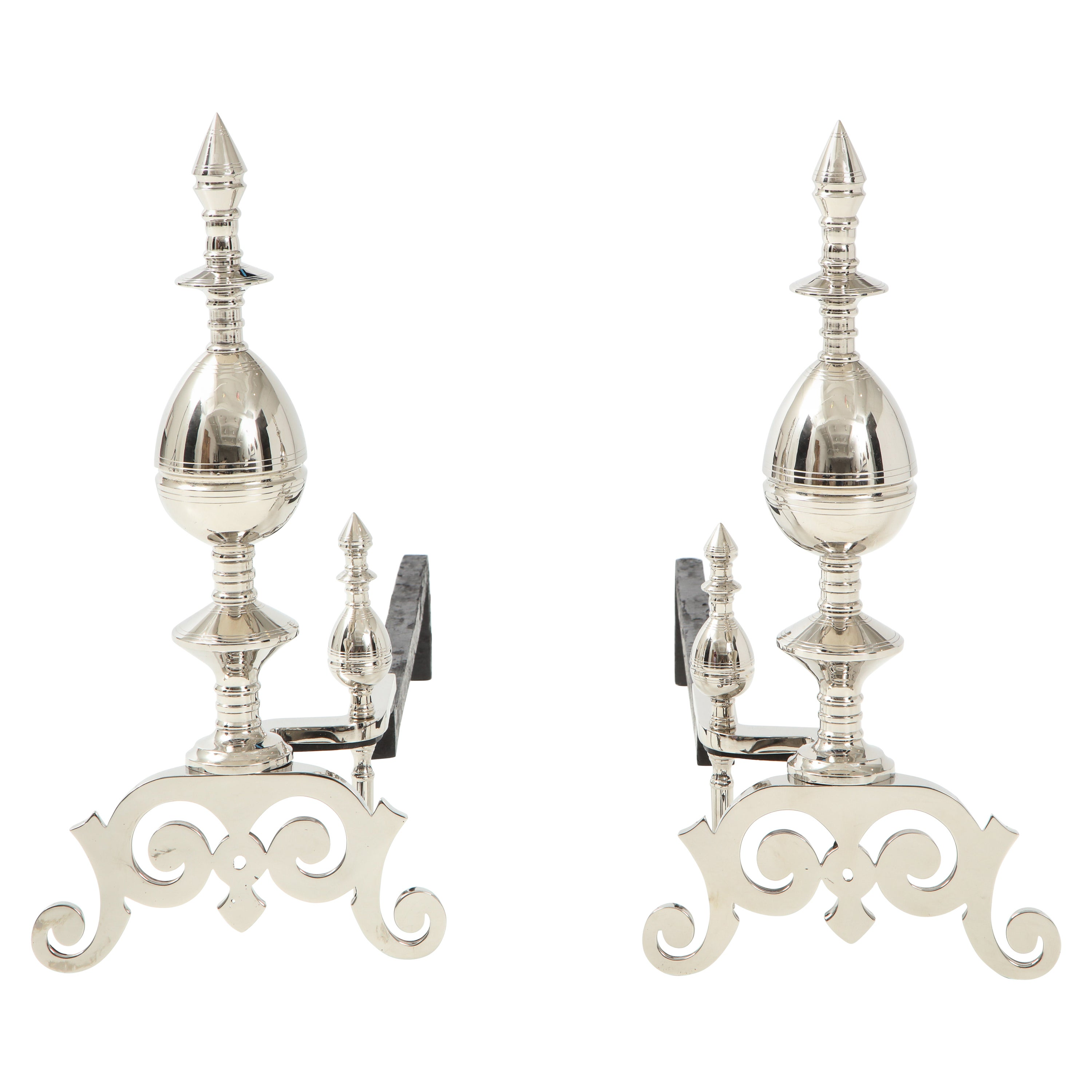 Art Deco Polished Nickel Spire Topped Andirons