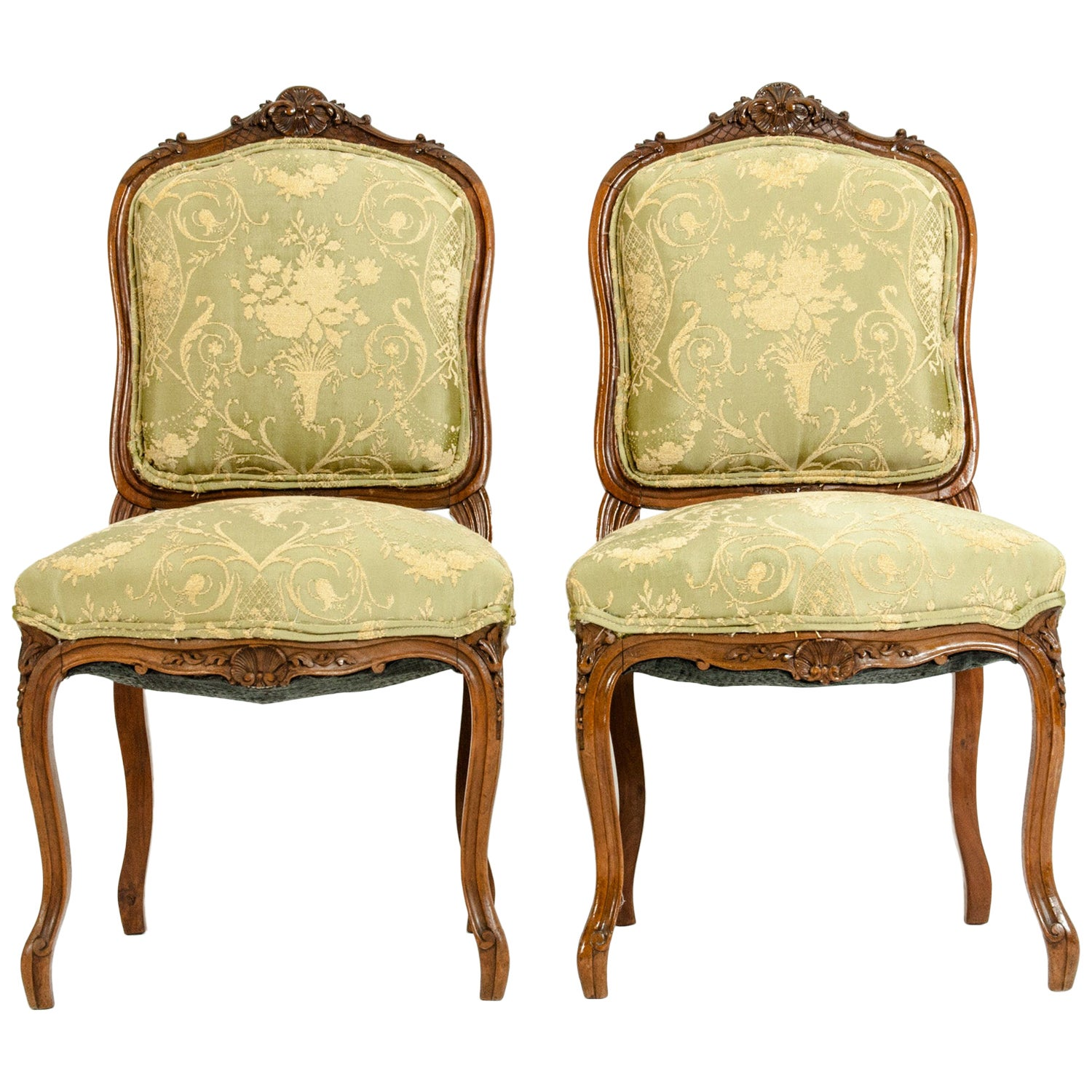 Mid-19th Century Mahogany Wood Frame Side Chairs