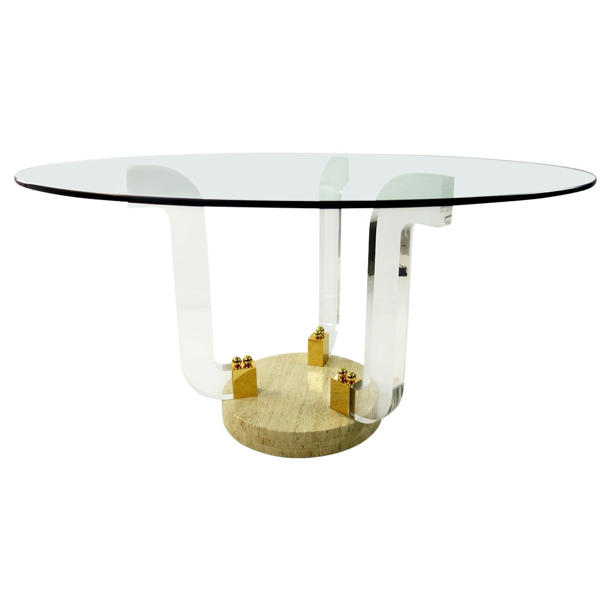 Hollywood Regency Round Dining Table Marble Foot, Plexiglass and Brass Details