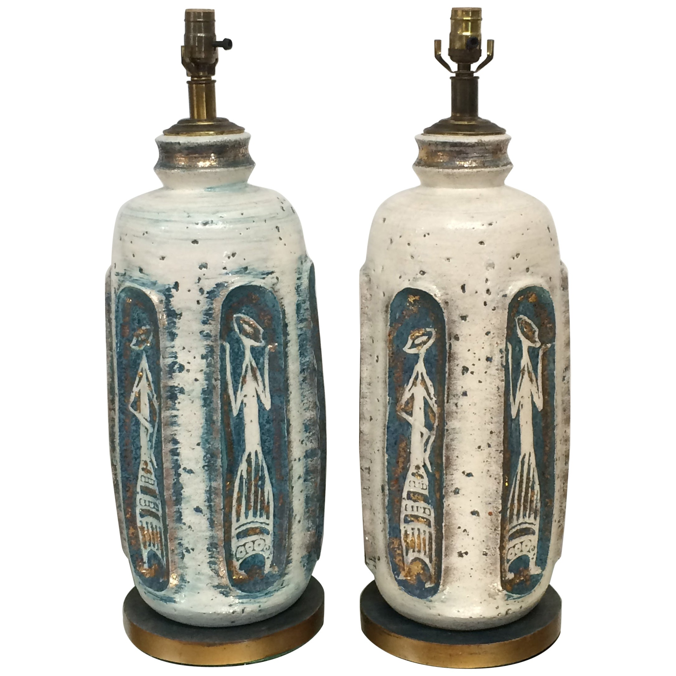 Tye of California Pottery Table Lamps a Pair, 1950s