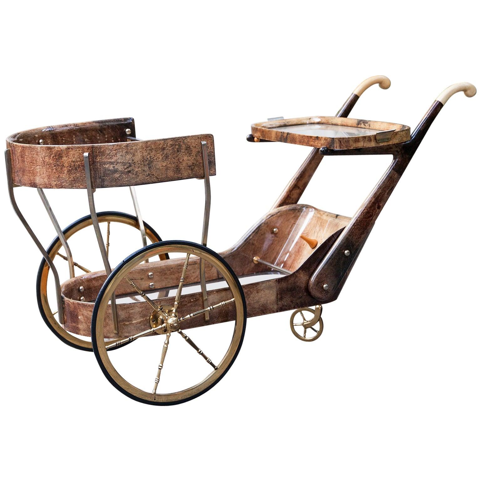 Aldo Tura Light Brown Goatskin Bar Cart