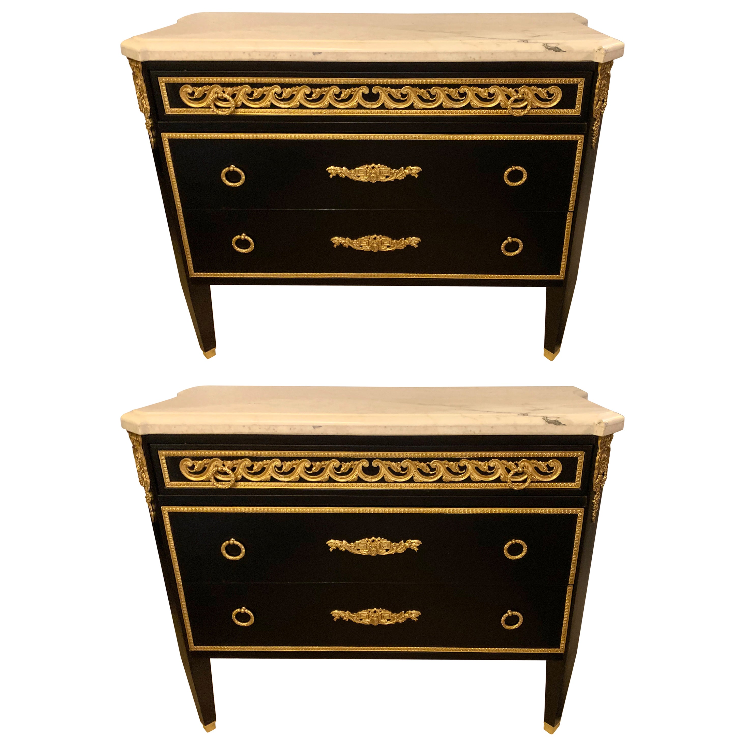 Hollywood Regency Maison Jansen Style Ebony Commodes, Cabinets or Nightstands