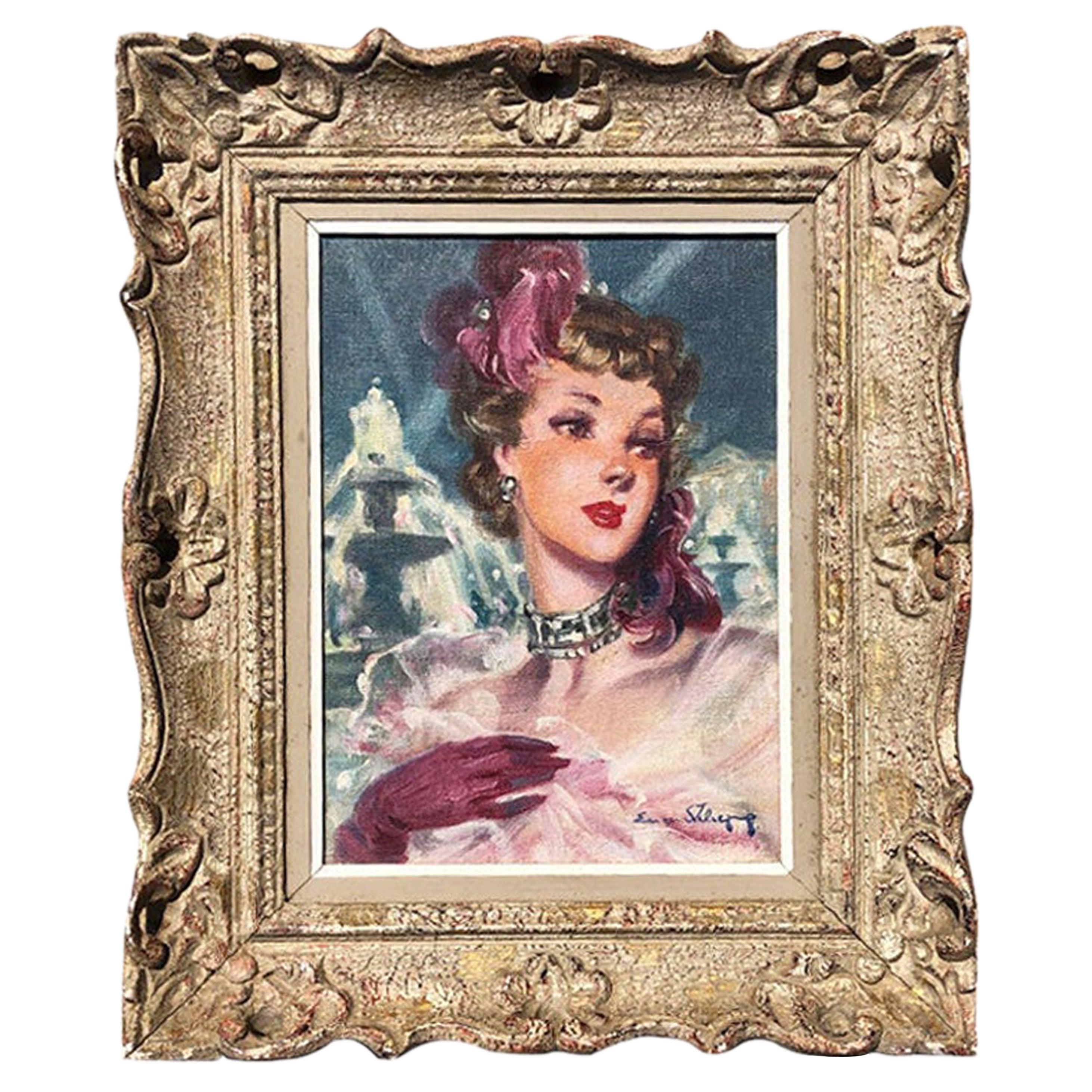 Eugene Lelievre Portrait Oil on Canvas Painting Signed and Framed 1920s France