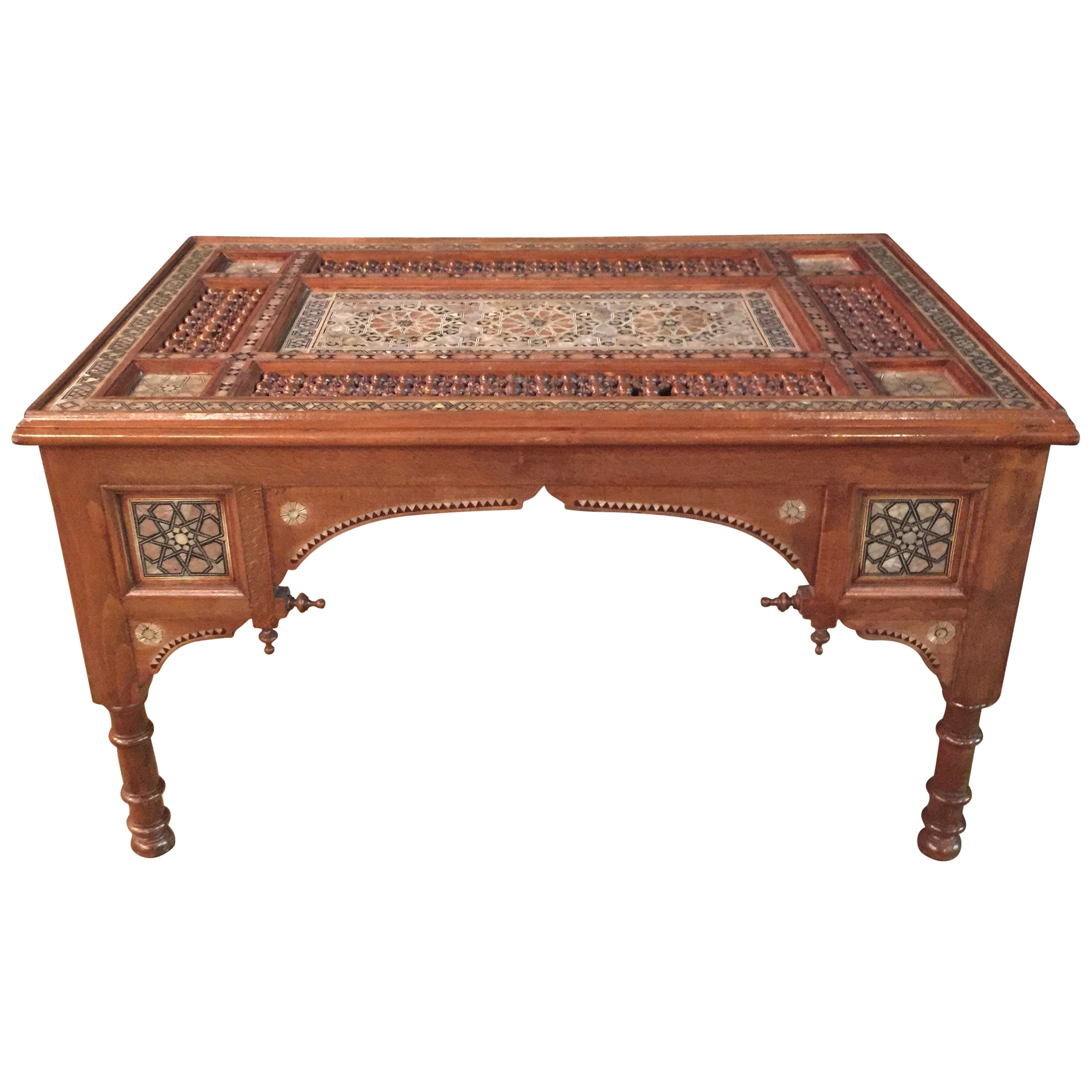 Oriental Coffee Table, Inlaid with Finest Mother of Pearl