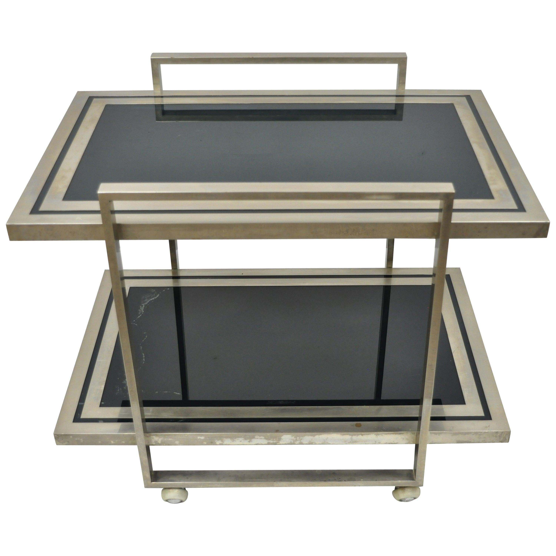 Mid-Century Modern 2-Tier Chrome & Green Glass Milo Baughman DIA Style Bar Cart