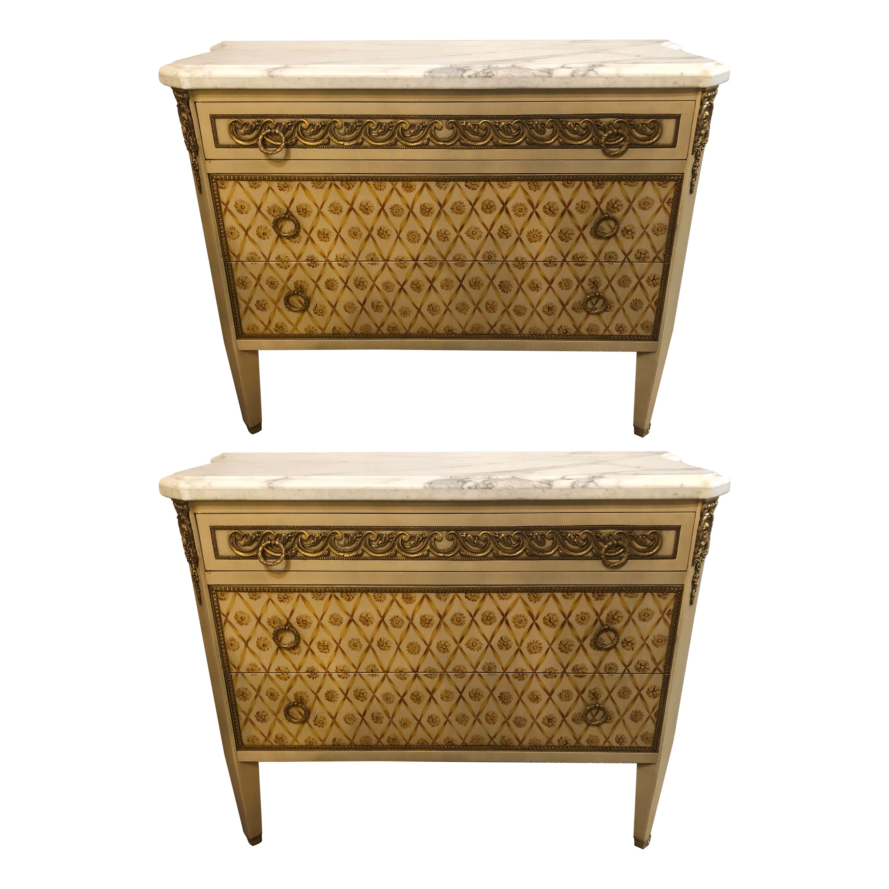 Hollywood Regency Maison Jansen Style Bronze Mounted Commodes Chests Nightstands