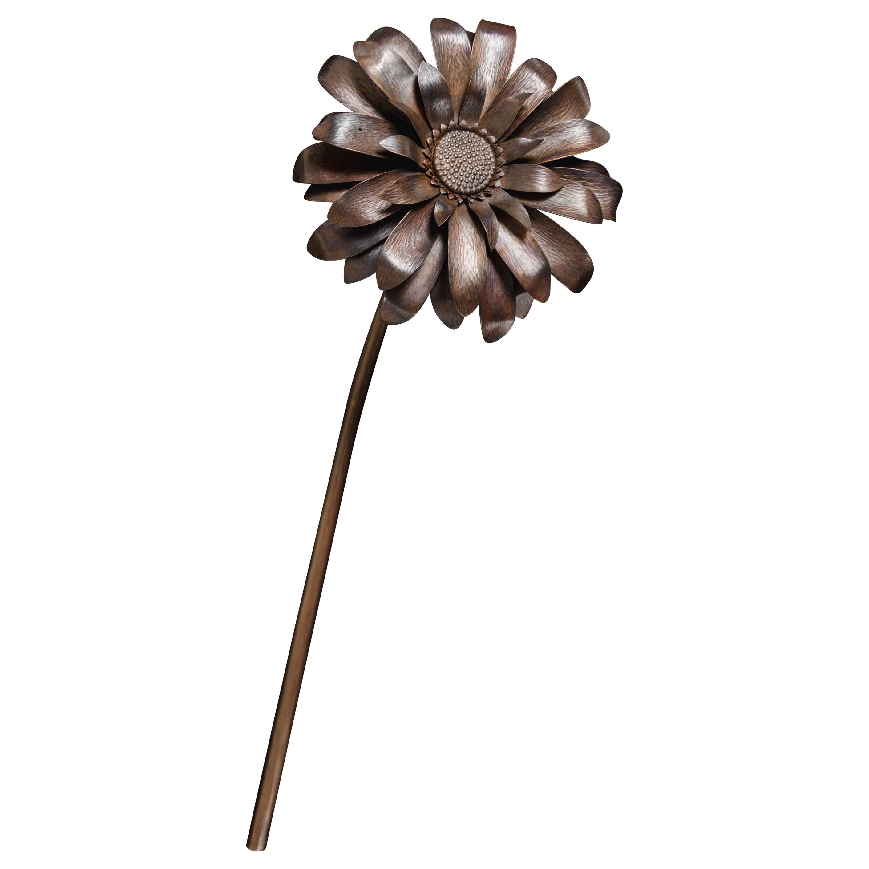 Gerber Daisy Flower Sculpture, Antique Copper by Robert Kuo, Hand Repousse