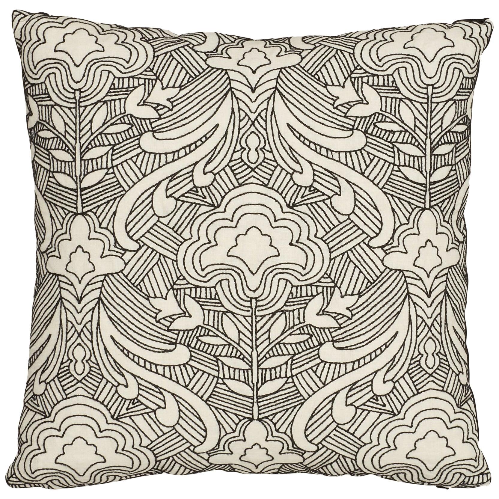 Schumacher Hendrix Embroidery Black Linen Pillow