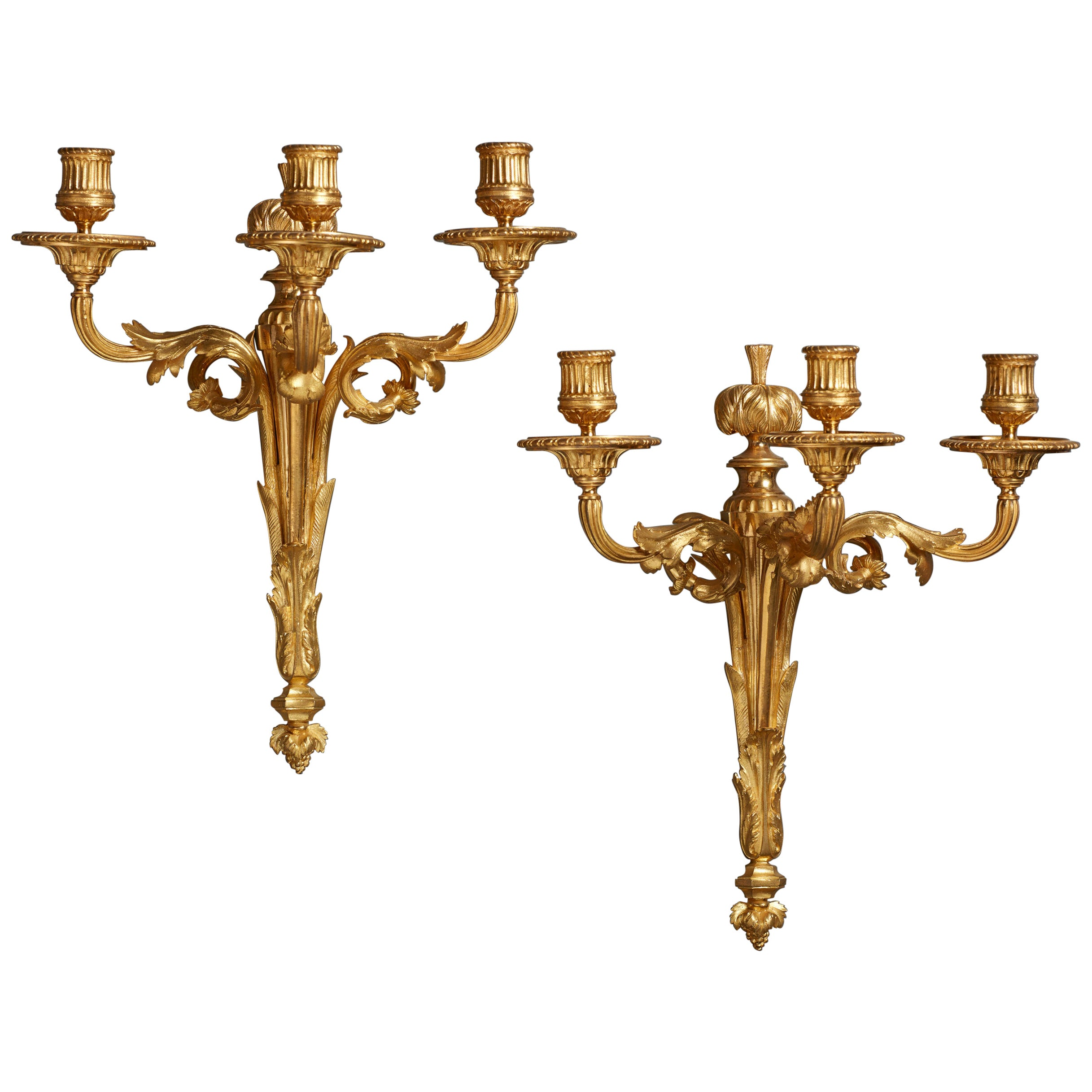 Pair of 18th Century French Ormolu Three-Branch Wall Sconces